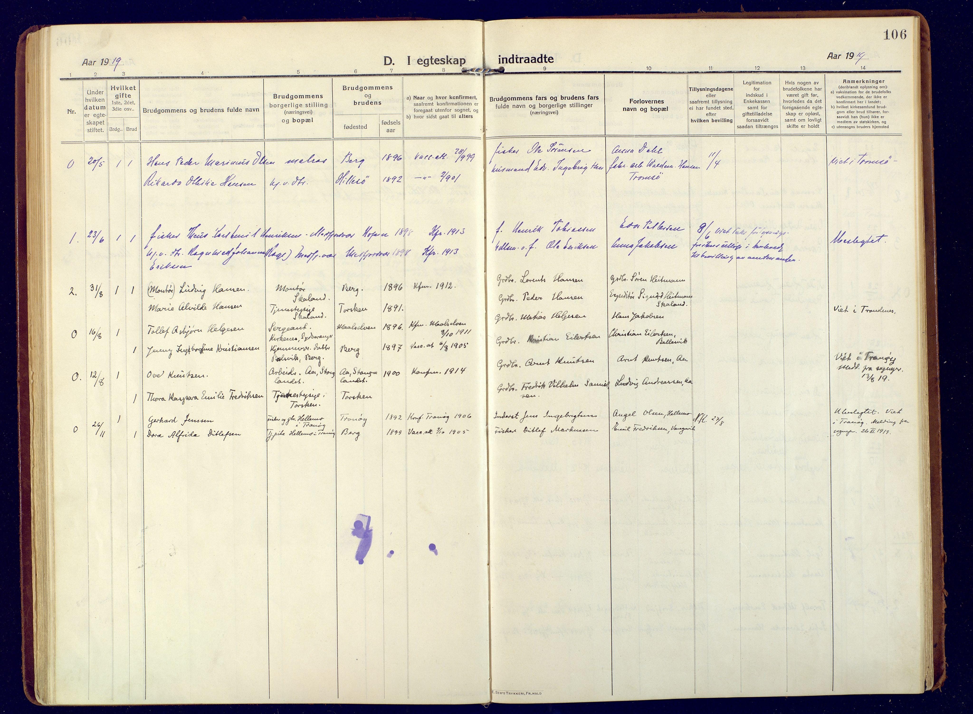 SATØ, Mefjord/Berg sokneprestkontor, G/Ga/Gaa: Ministerialbok nr. 9, 1916-1928, s. 106