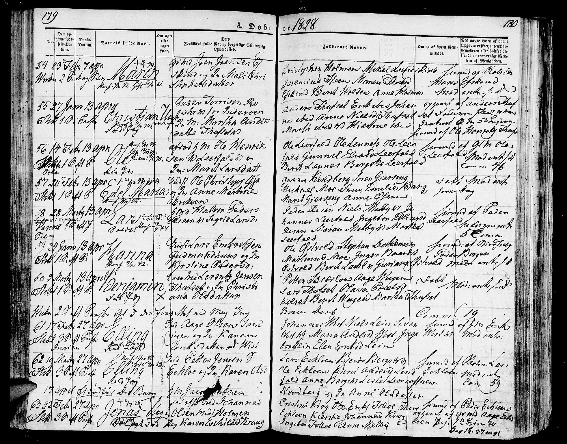 SAT, Ministerialprotokoller, klokkerbøker og fødselsregistre - Nord-Trøndelag, 723/L0237: Ministerialbok nr. 723A06, 1822-1830, s. 179-180