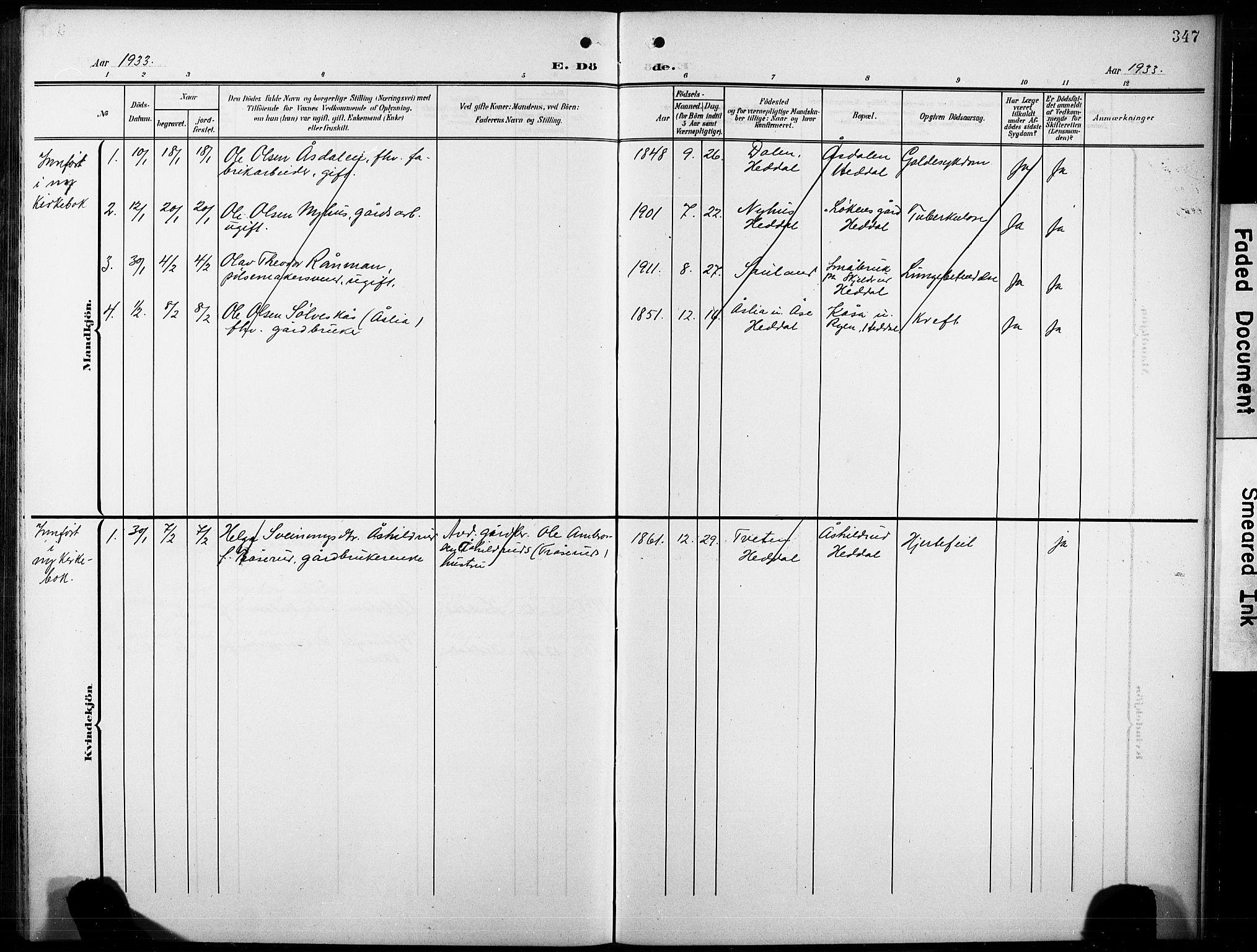 SAKO, Heddal kirkebøker, G/Ga/L0003: Klokkerbok nr. I 3, 1908-1932, s. 347