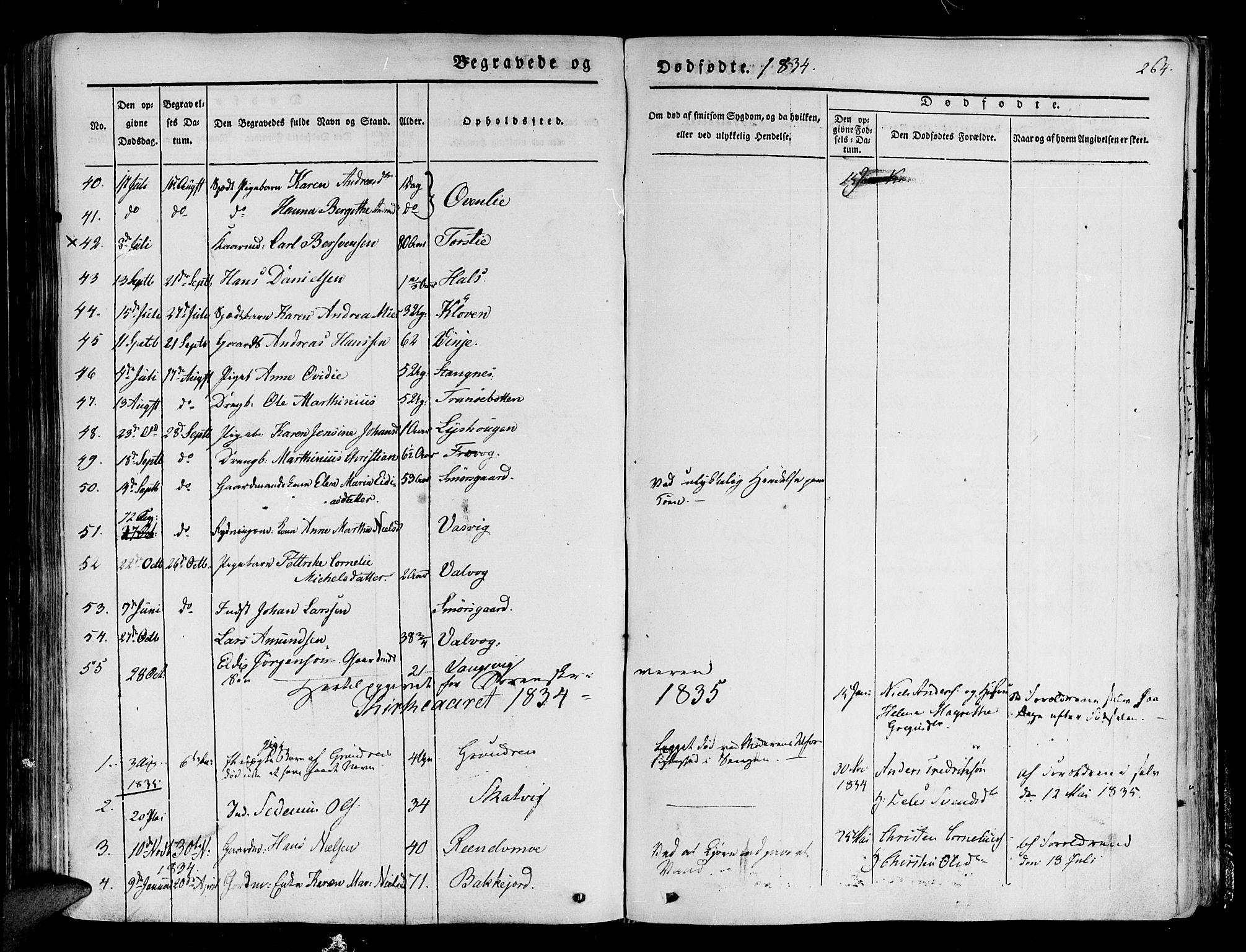 SATØ, Tranøy sokneprestkontor, I/Ia/Iaa/L0005kirke: Ministerialbok nr. 5, 1829-1844, s. 264