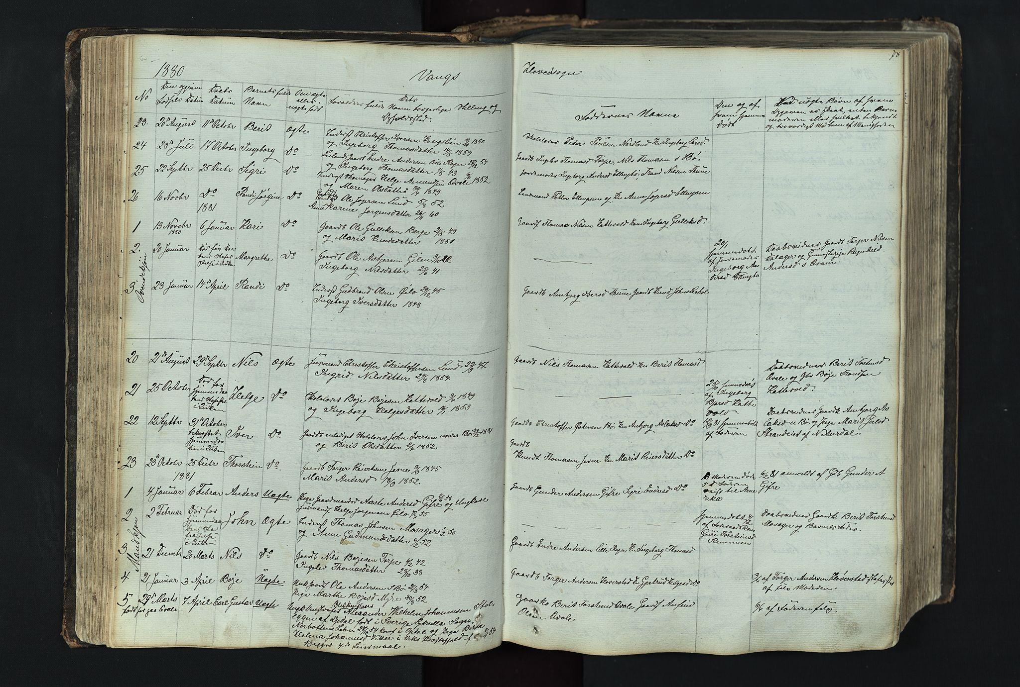 SAH, Vang prestekontor, Valdres, Klokkerbok nr. 4, 1835-1892, s. 78