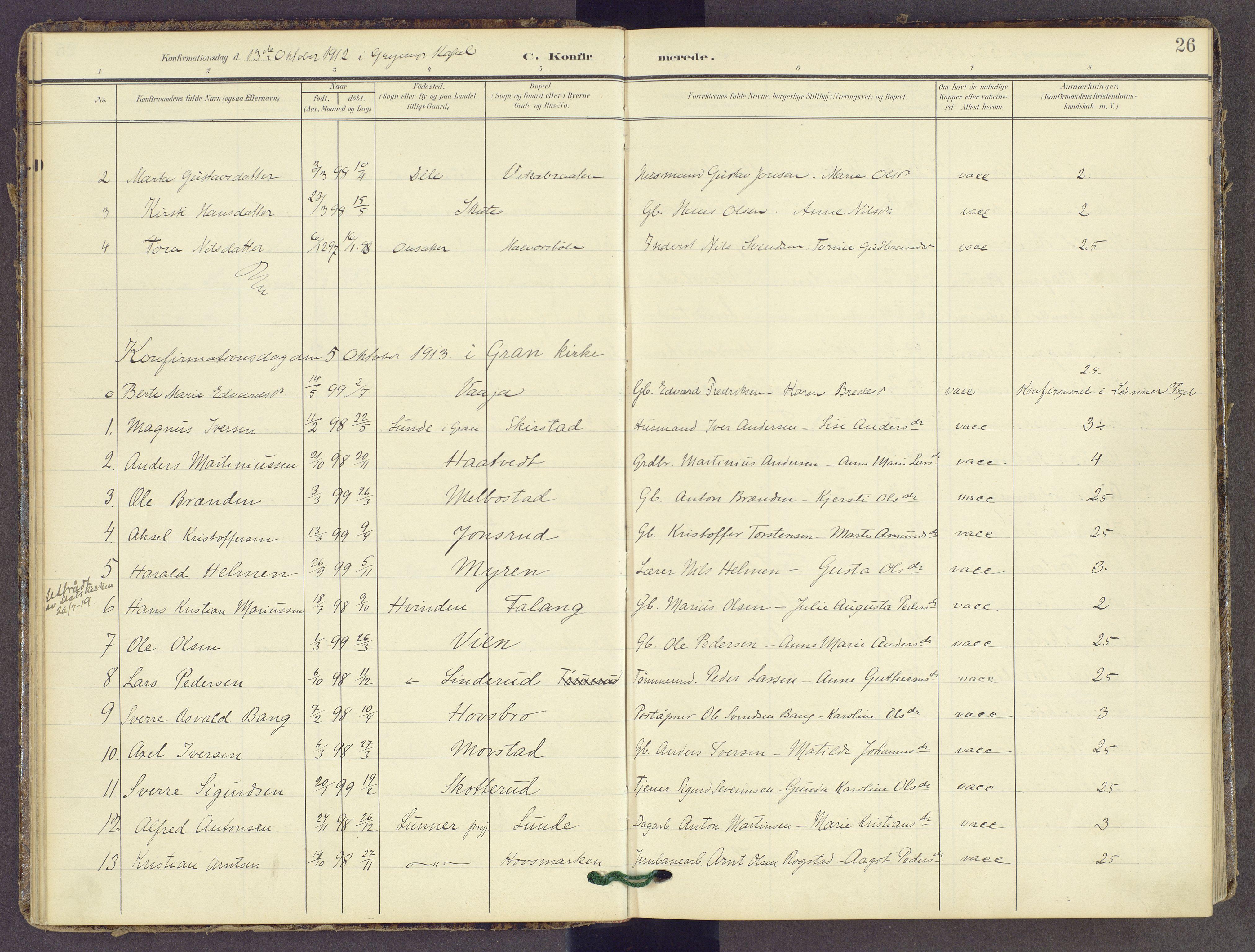 SAH, Gran prestekontor, Ministerialbok nr. 22, 1908-1918, s. 26