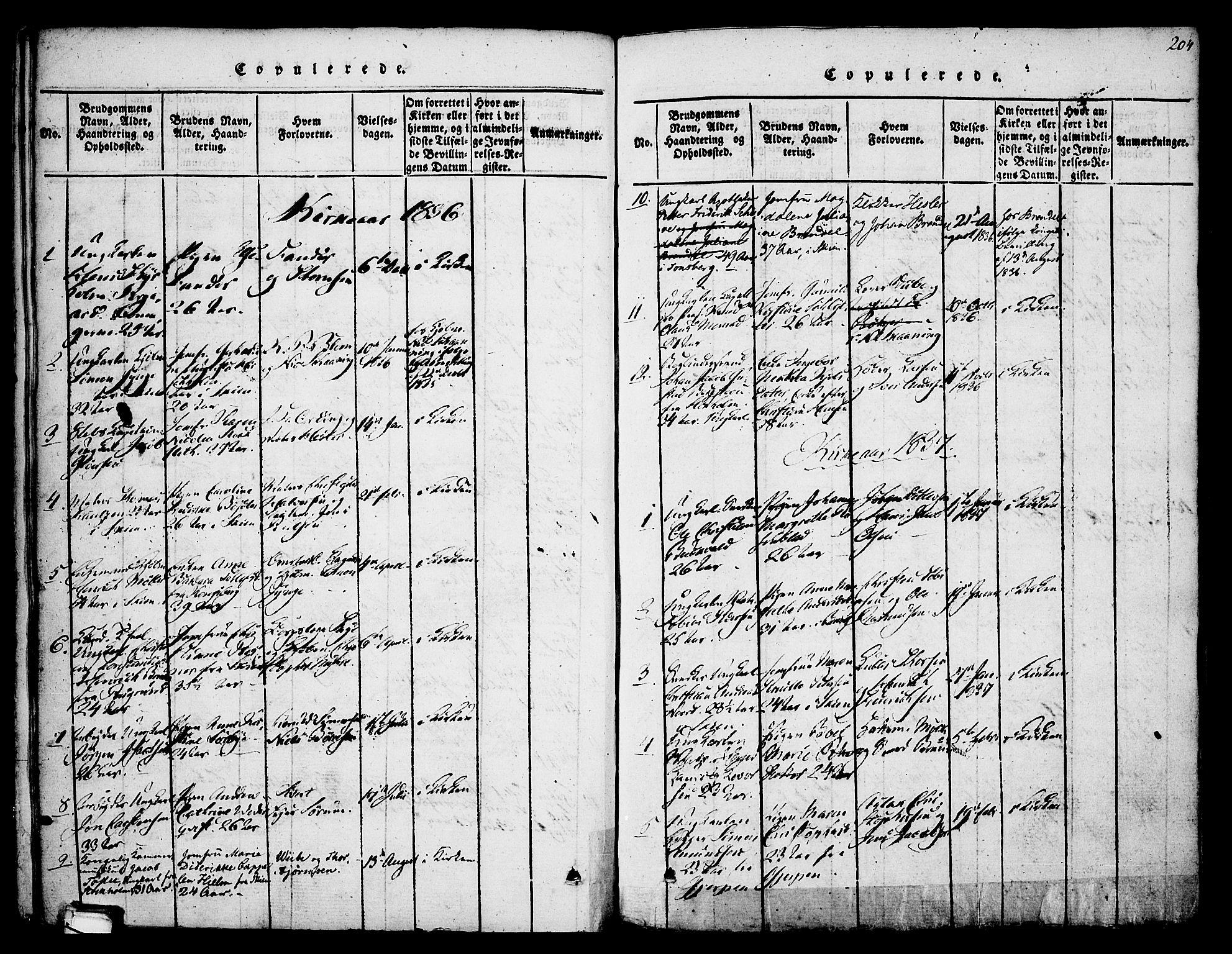 SAKO, Skien kirkebøker, F/Fa/L0005: Ministerialbok nr. 5, 1814-1843, s. 204