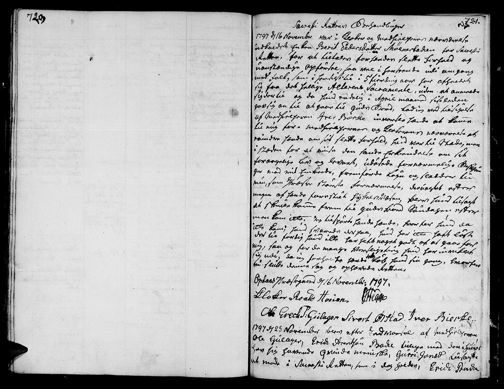 SAT, Ministerialprotokoller, klokkerbøker og fødselsregistre - Sør-Trøndelag, 678/L0893: Ministerialbok nr. 678A03, 1792-1805, s. 720-721