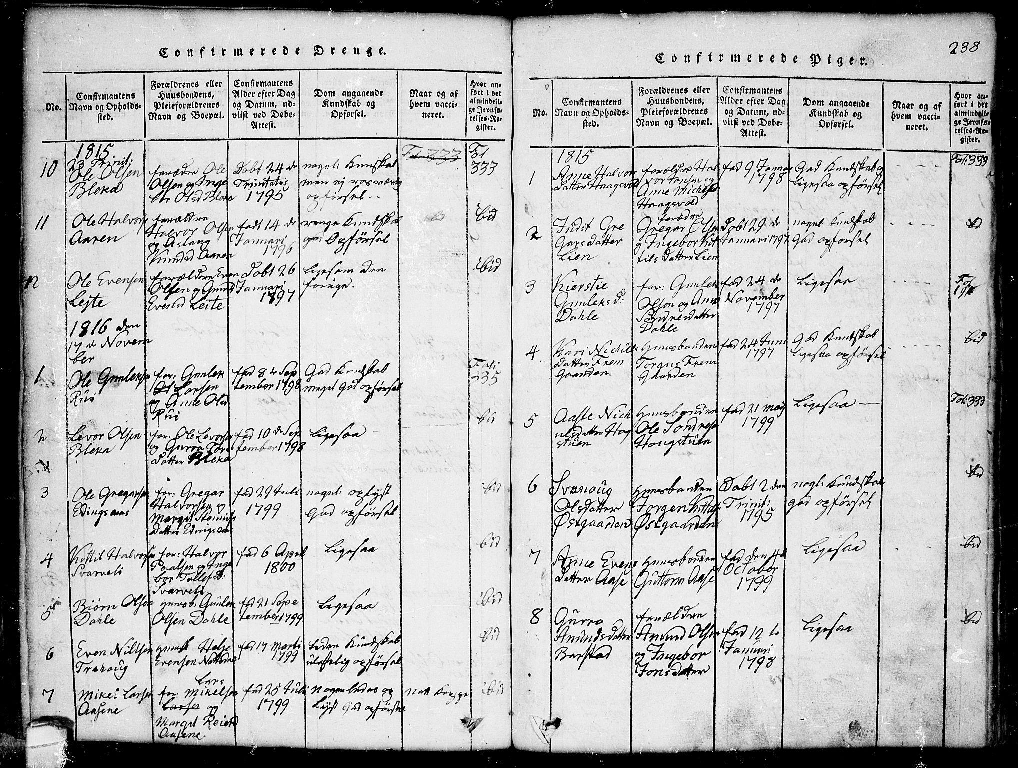 SAKO, Seljord kirkebøker, G/Gb/L0002: Klokkerbok nr. II 2, 1815-1854, s. 238