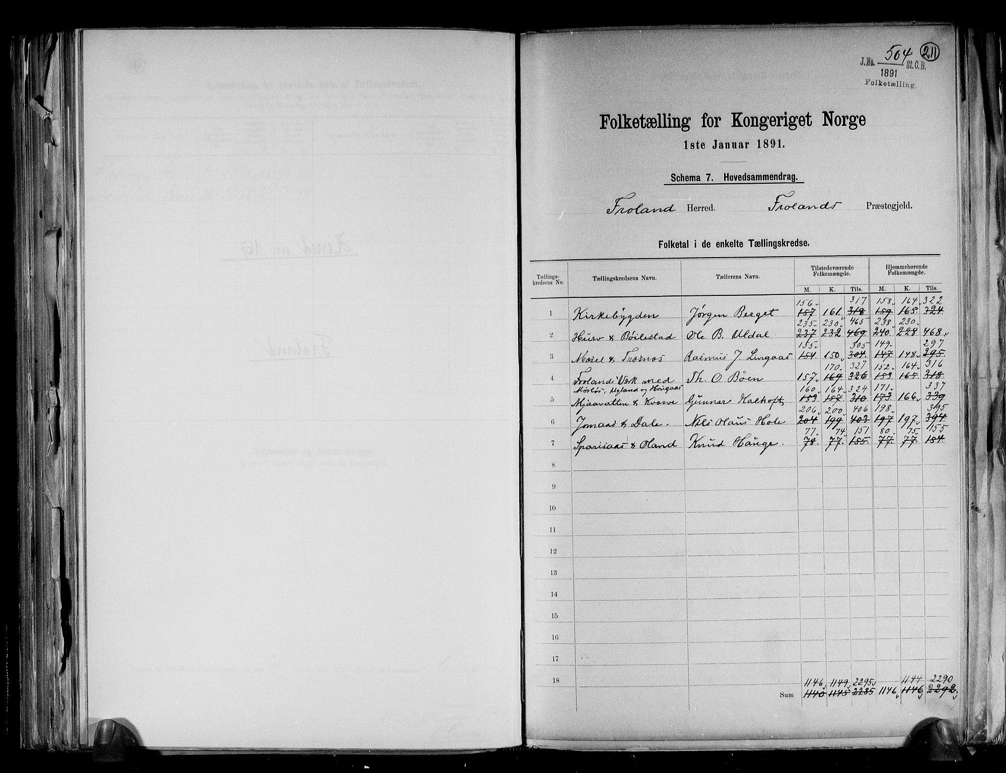 RA, Folketelling 1891 for 0919 Froland herred, 1891, s. 2