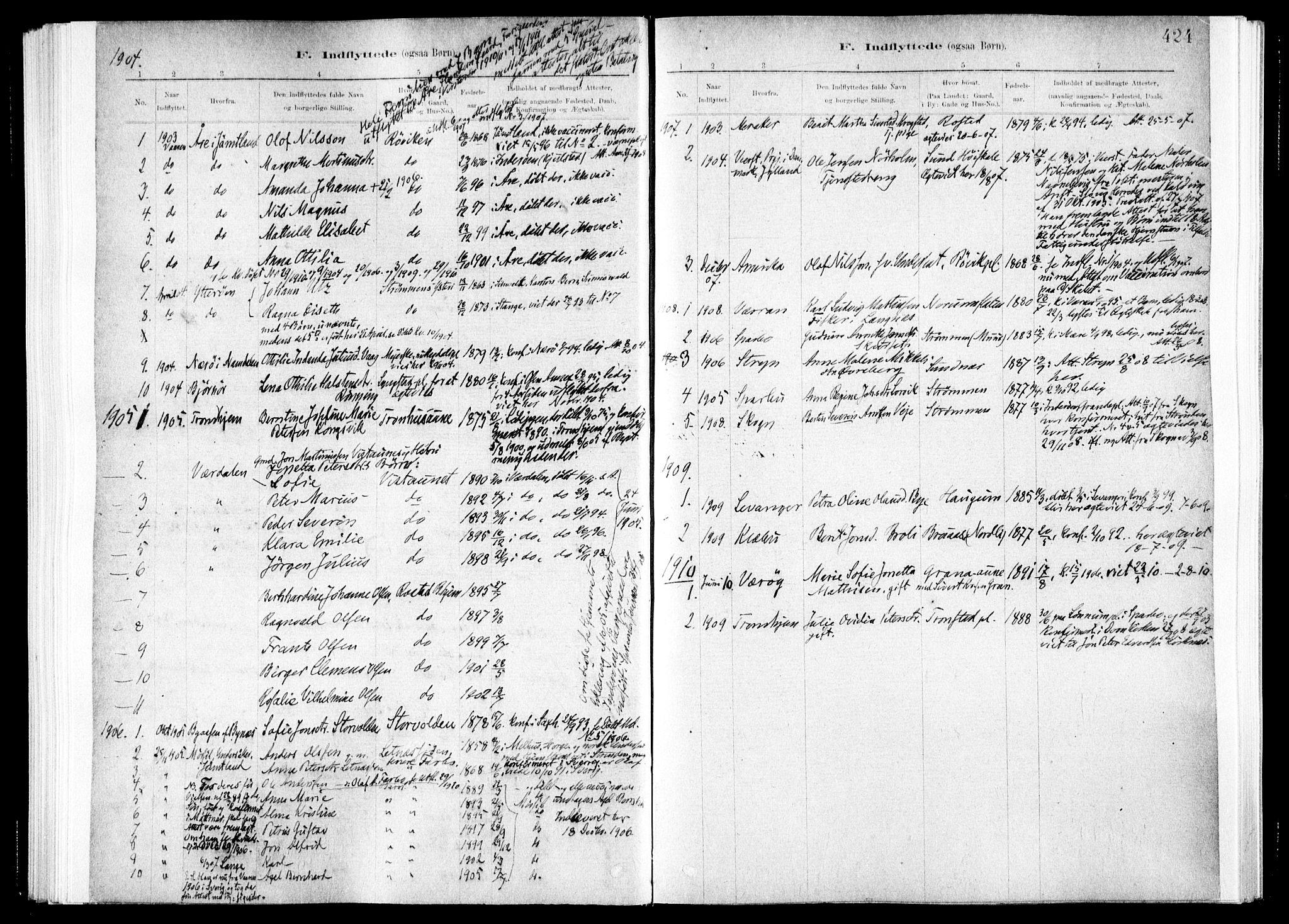 SAT, Ministerialprotokoller, klokkerbøker og fødselsregistre - Nord-Trøndelag, 730/L0285: Ministerialbok nr. 730A10, 1879-1914, s. 424