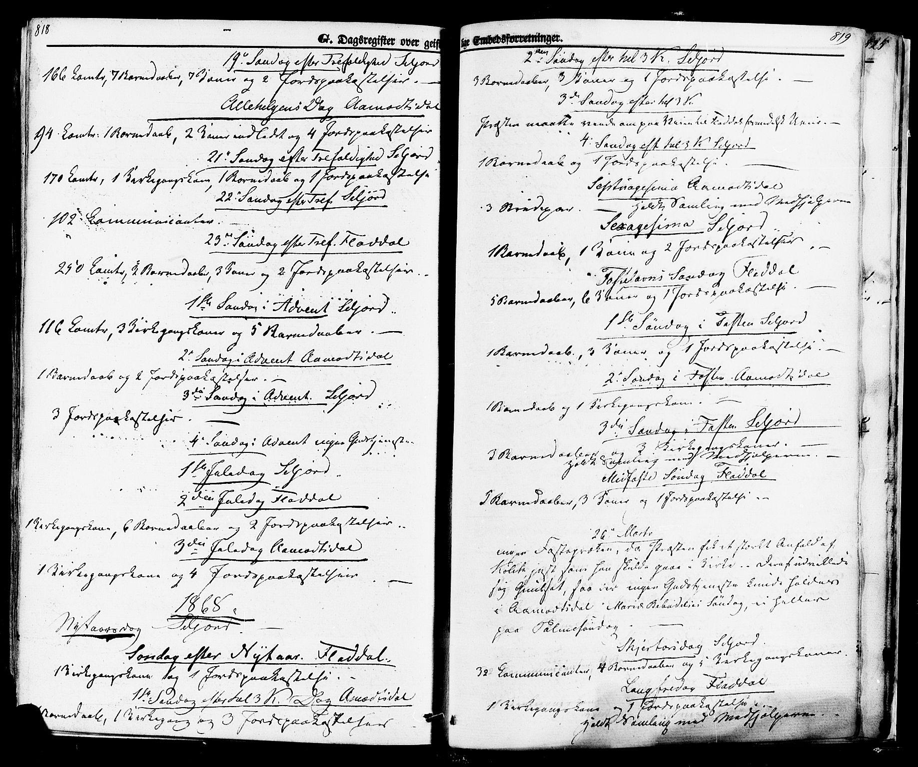 SAKO, Seljord kirkebøker, F/Fa/L0013: Ministerialbok nr. I 13, 1866-1876, s. 818-819