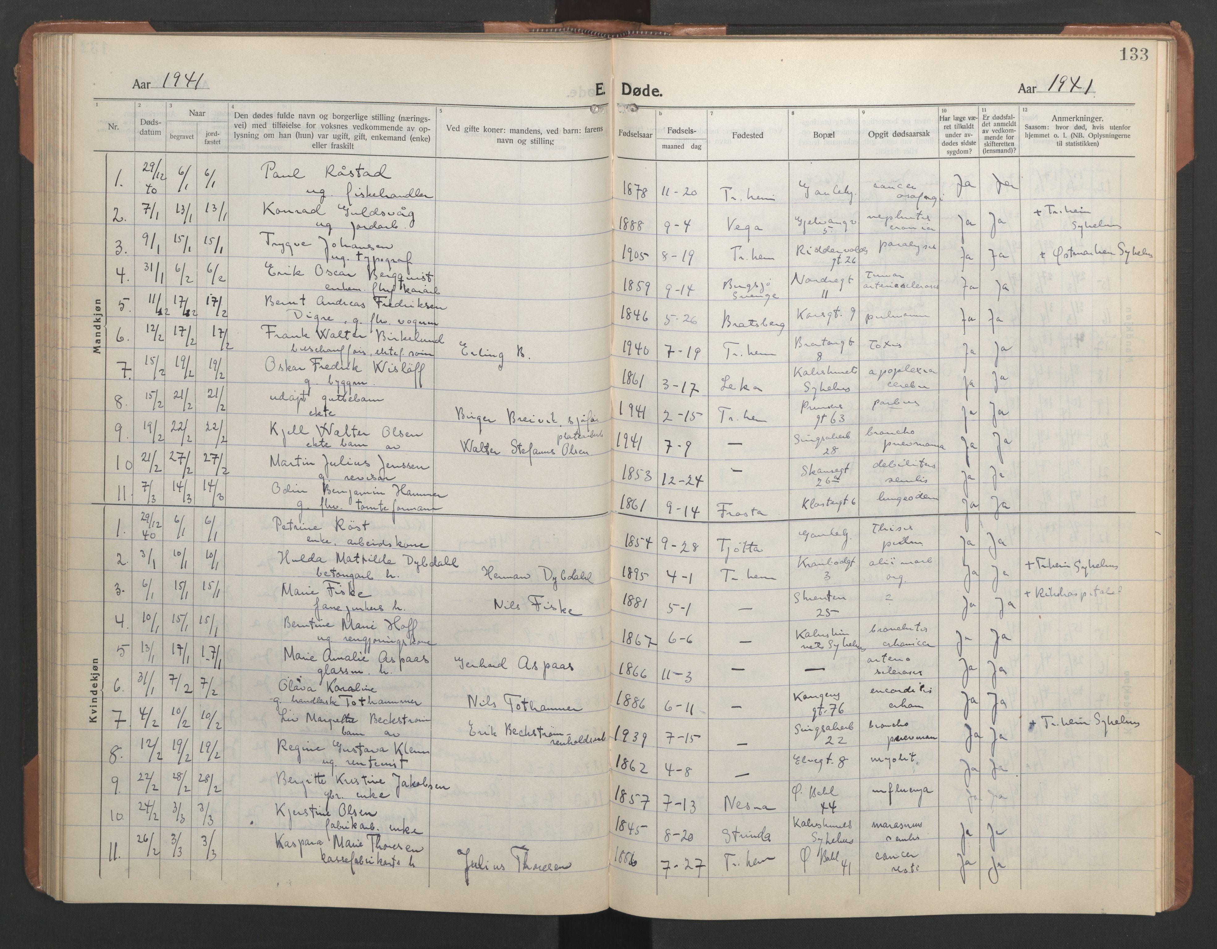 SAT, Ministerialprotokoller, klokkerbøker og fødselsregistre - Sør-Trøndelag, 602/L0150: Klokkerbok nr. 602C18, 1922-1949, s. 133