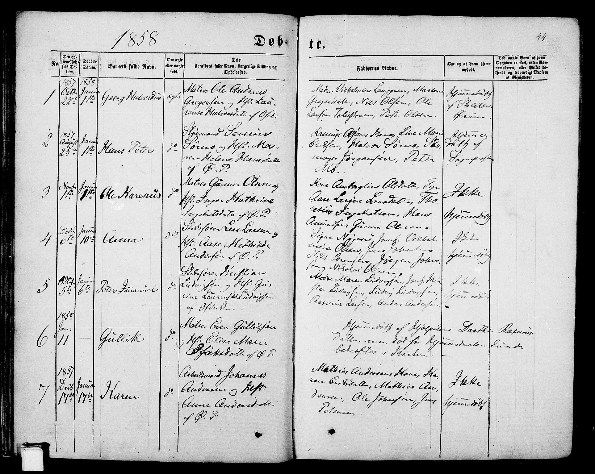 SAKO, Porsgrunn kirkebøker , G/Gb/L0004: Klokkerbok nr. II 4, 1853-1882, s. 44
