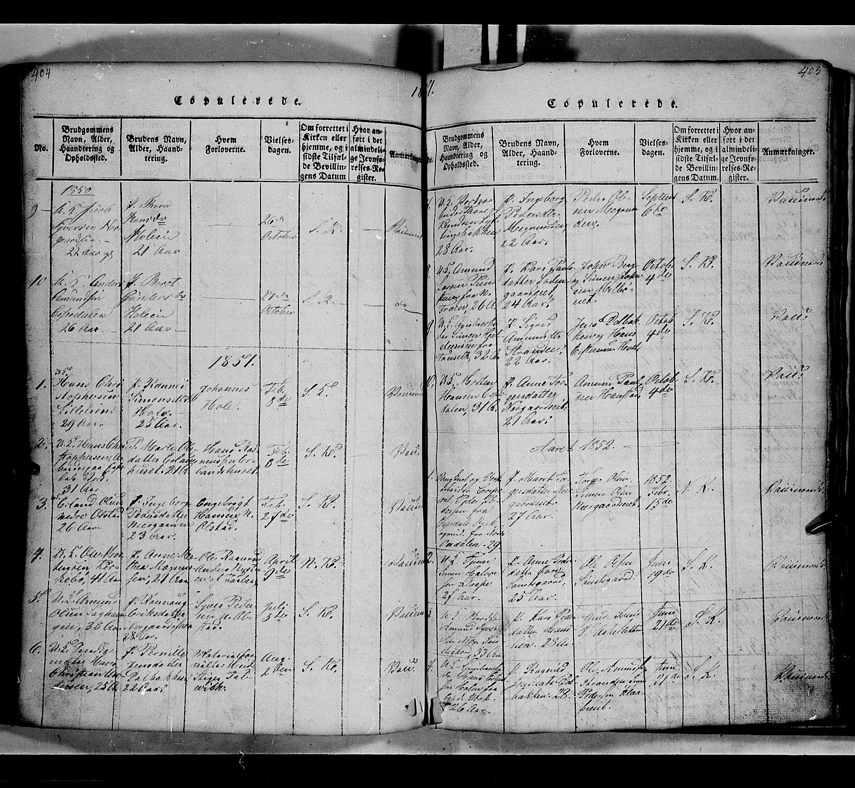 SAH, Gausdal prestekontor, Klokkerbok nr. 2, 1818-1874, s. 404-405