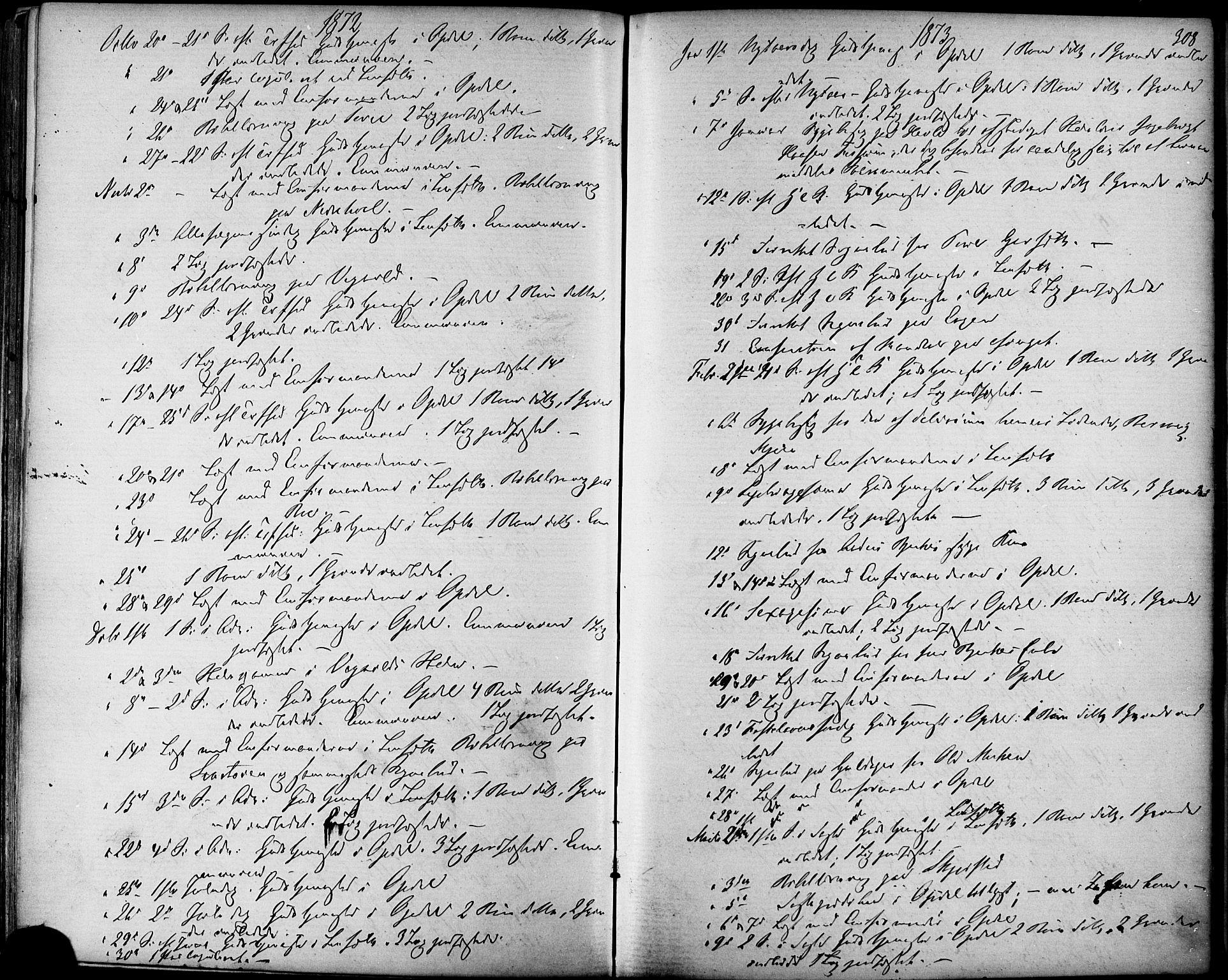 SAT, Ministerialprotokoller, klokkerbøker og fødselsregistre - Sør-Trøndelag, 678/L0900: Ministerialbok nr. 678A09, 1872-1881, s. 308