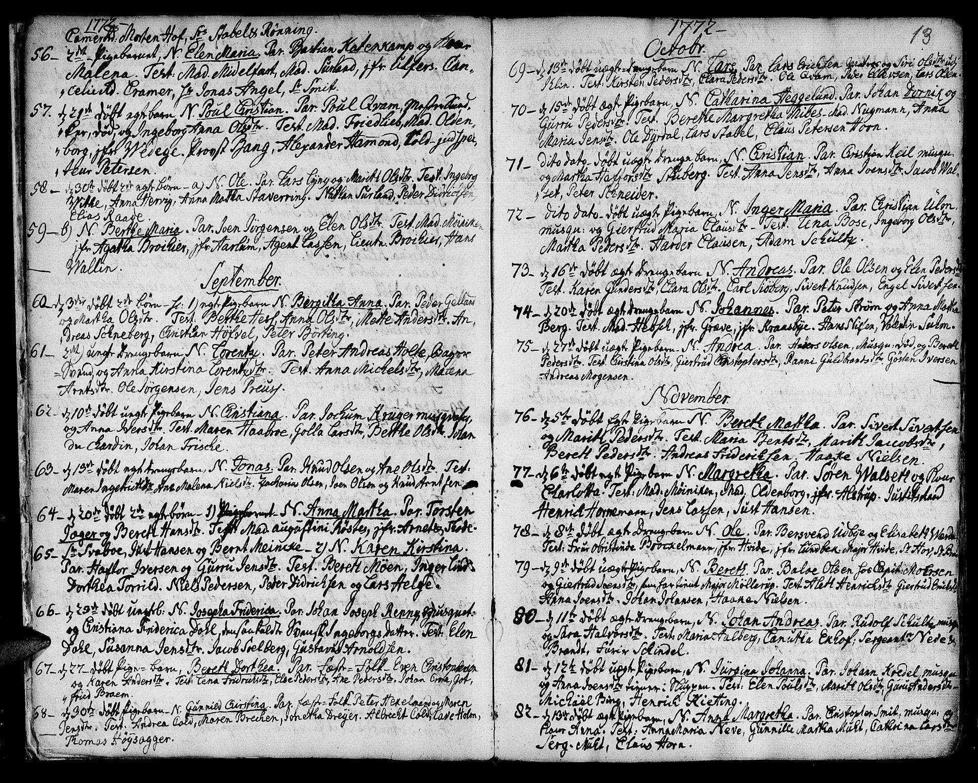 SAT, Ministerialprotokoller, klokkerbøker og fødselsregistre - Sør-Trøndelag, 601/L0039: Ministerialbok nr. 601A07, 1770-1819, s. 13