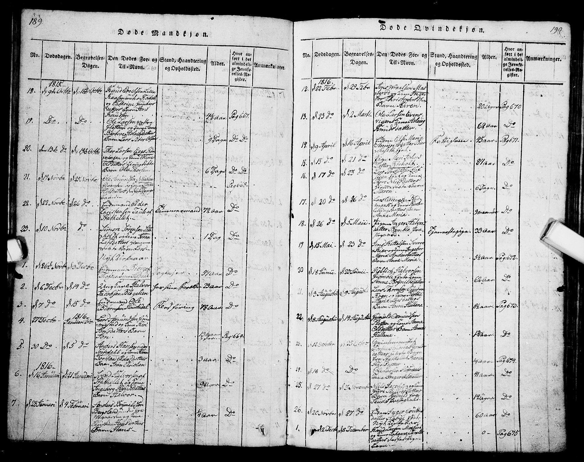 SAKO, Bamble kirkebøker, G/Ga/L0005: Klokkerbok nr. I 5, 1814-1855, s. 189-190