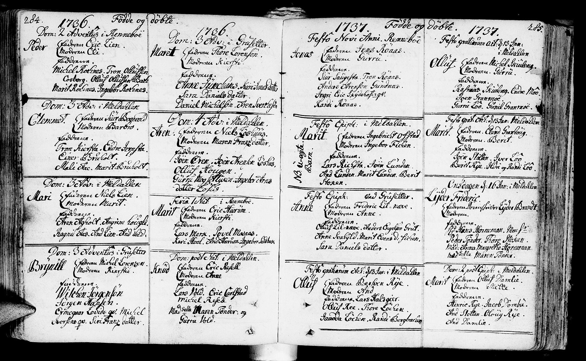 SAT, Ministerialprotokoller, klokkerbøker og fødselsregistre - Sør-Trøndelag, 672/L0850: Ministerialbok nr. 672A03, 1725-1751, s. 284-285