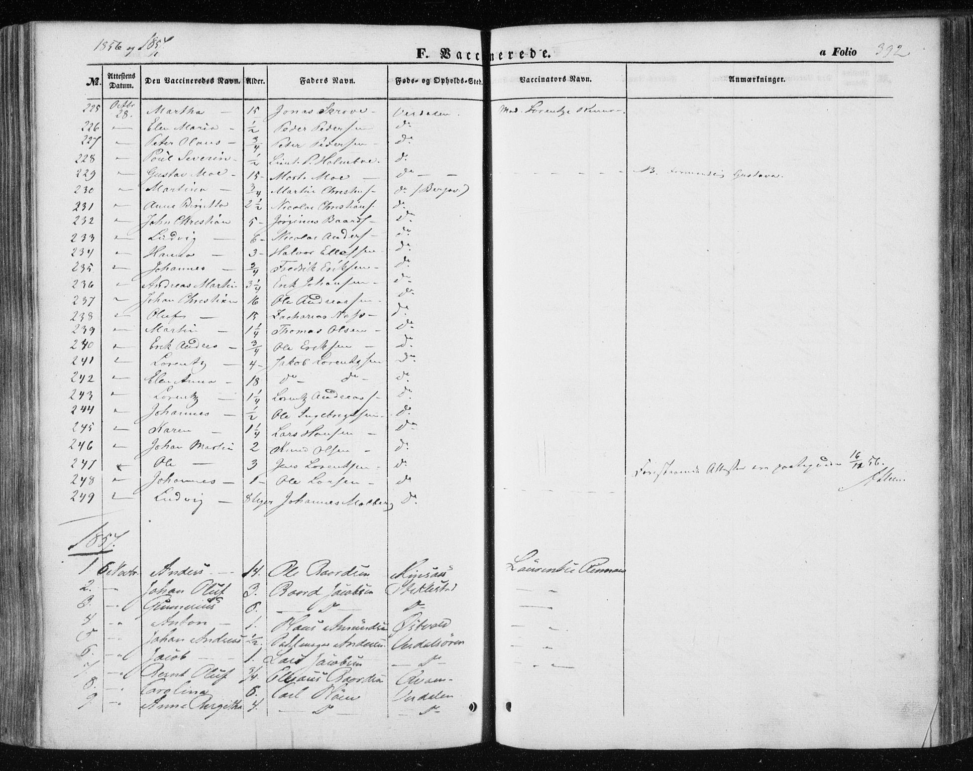 SAT, Ministerialprotokoller, klokkerbøker og fødselsregistre - Nord-Trøndelag, 723/L0240: Ministerialbok nr. 723A09, 1852-1860, s. 392