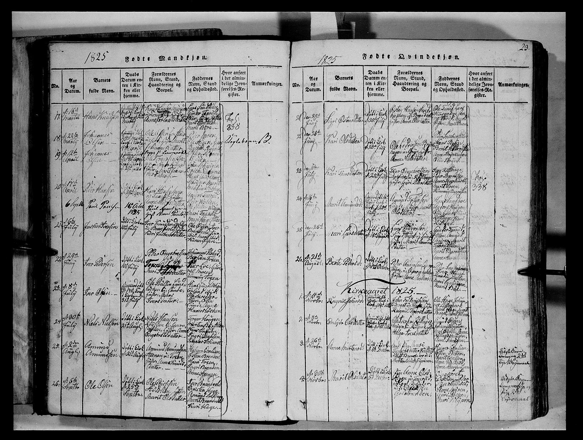 SAH, Fron prestekontor, H/Ha/Hab/L0004: Klokkerbok nr. 4, 1816-1850, s. 23