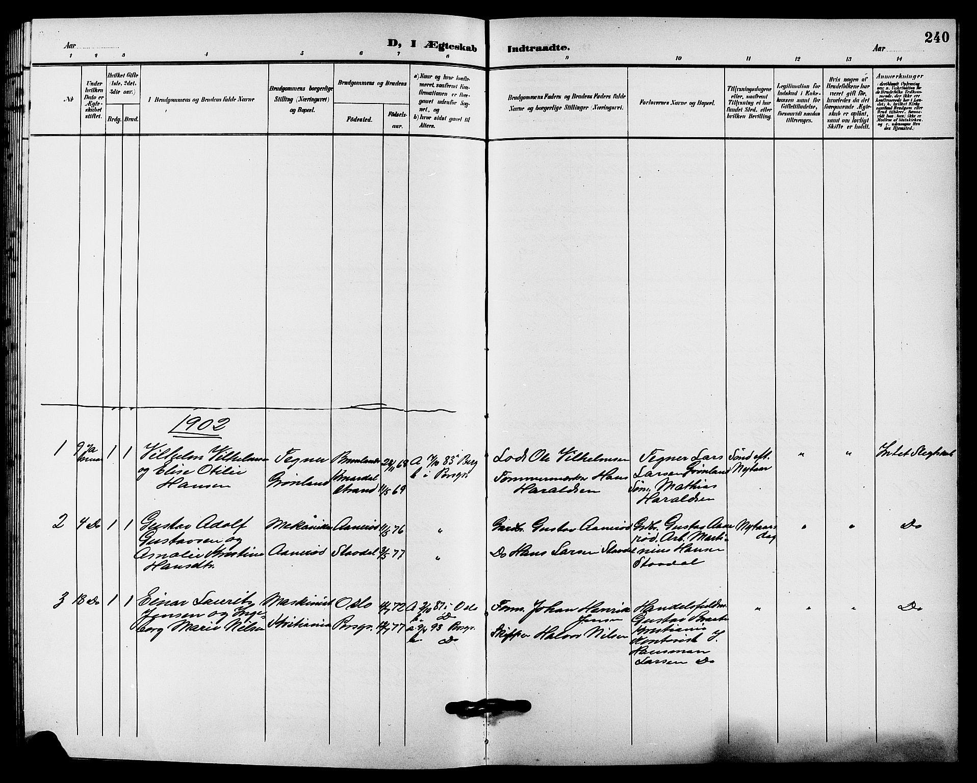 SAKO, Solum kirkebøker, G/Ga/L0008: Klokkerbok nr. I 8, 1898-1909, s. 240