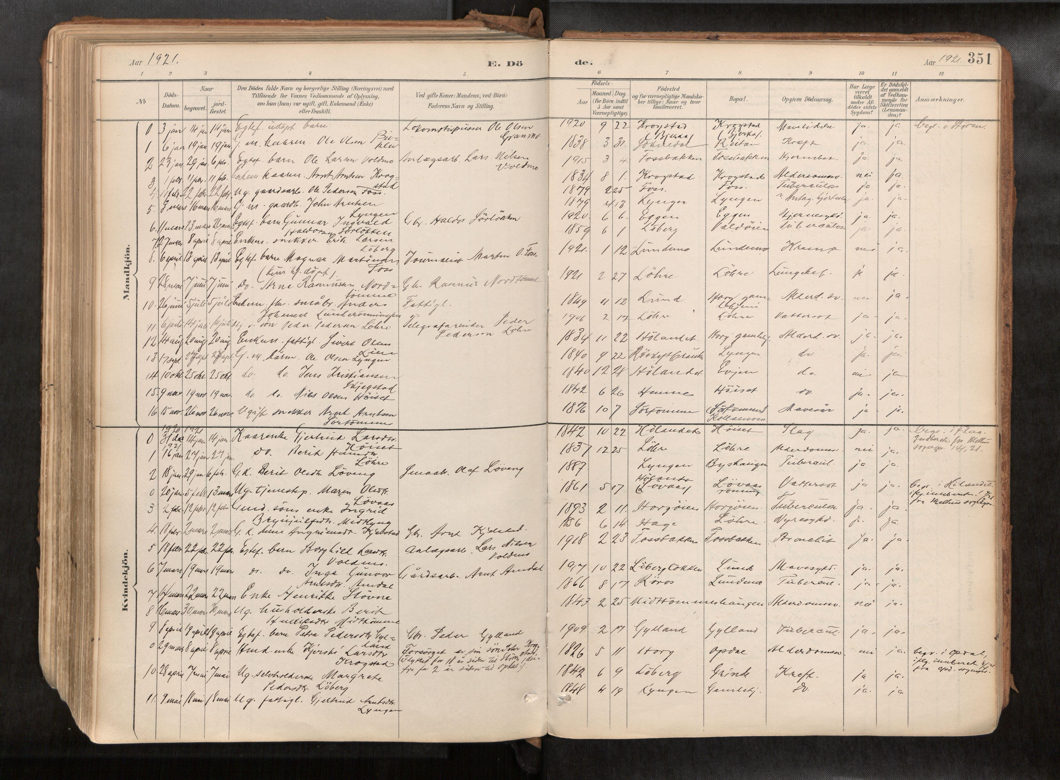 SAT, Ministerialprotokoller, klokkerbøker og fødselsregistre - Sør-Trøndelag, 692/L1105b: Ministerialbok nr. 692A06, 1891-1934, s. 351