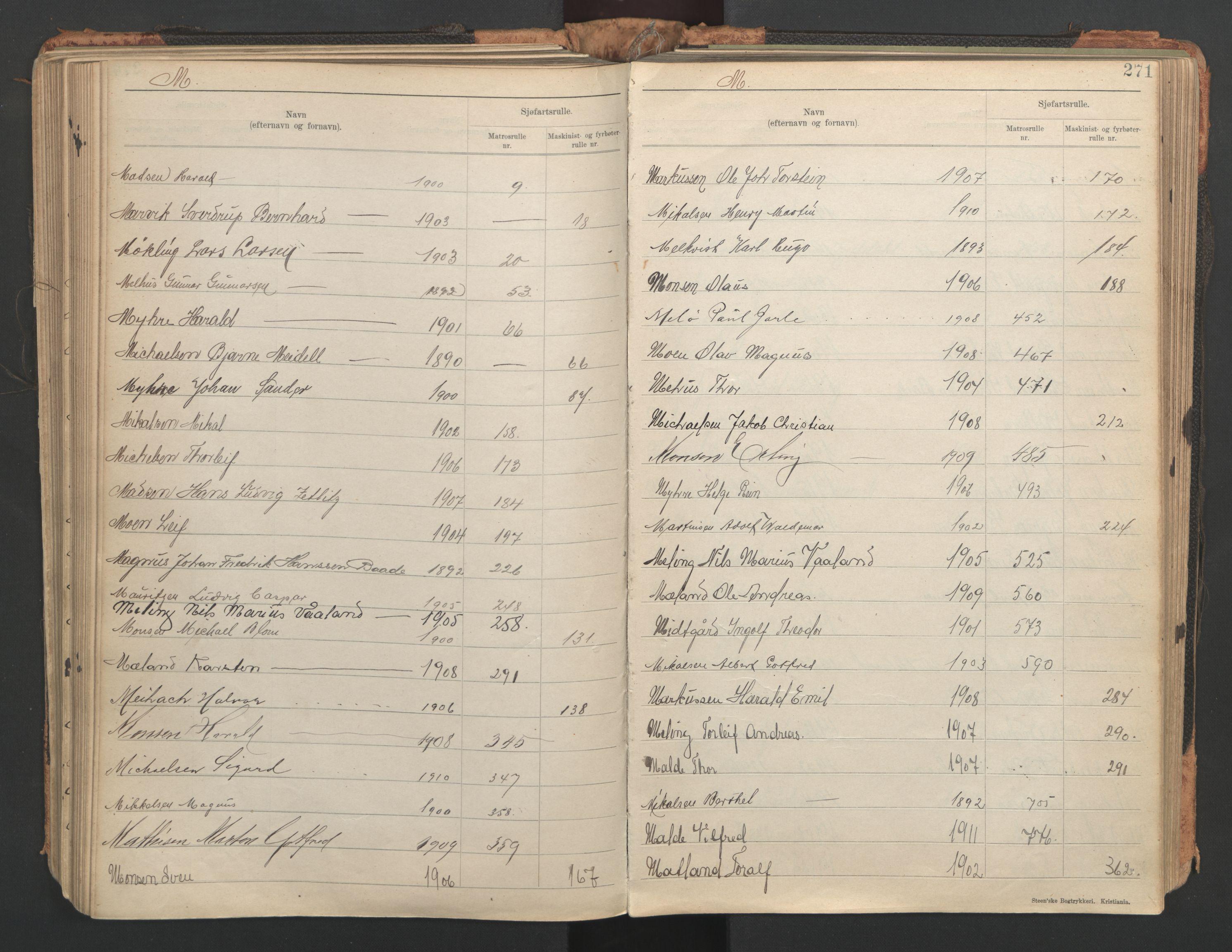 SAST, Stavanger sjømannskontor, F/Fb/Fba/L0005: Navneregister sjøfartsruller, etternavnsregister til hovedrulle 1921, 1921-1947, s. 77