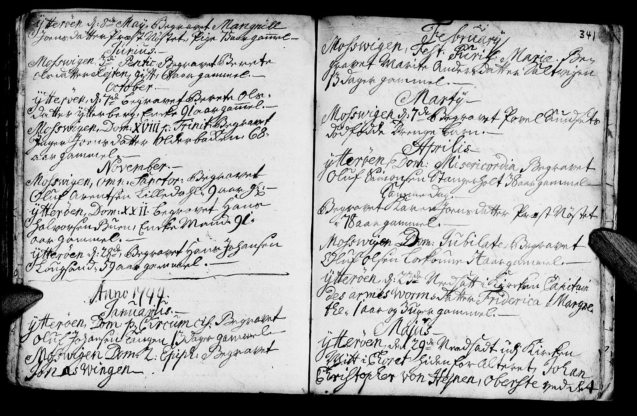 SAT, Ministerialprotokoller, klokkerbøker og fødselsregistre - Nord-Trøndelag, 722/L0215: Ministerialbok nr. 722A02, 1718-1755, s. 341