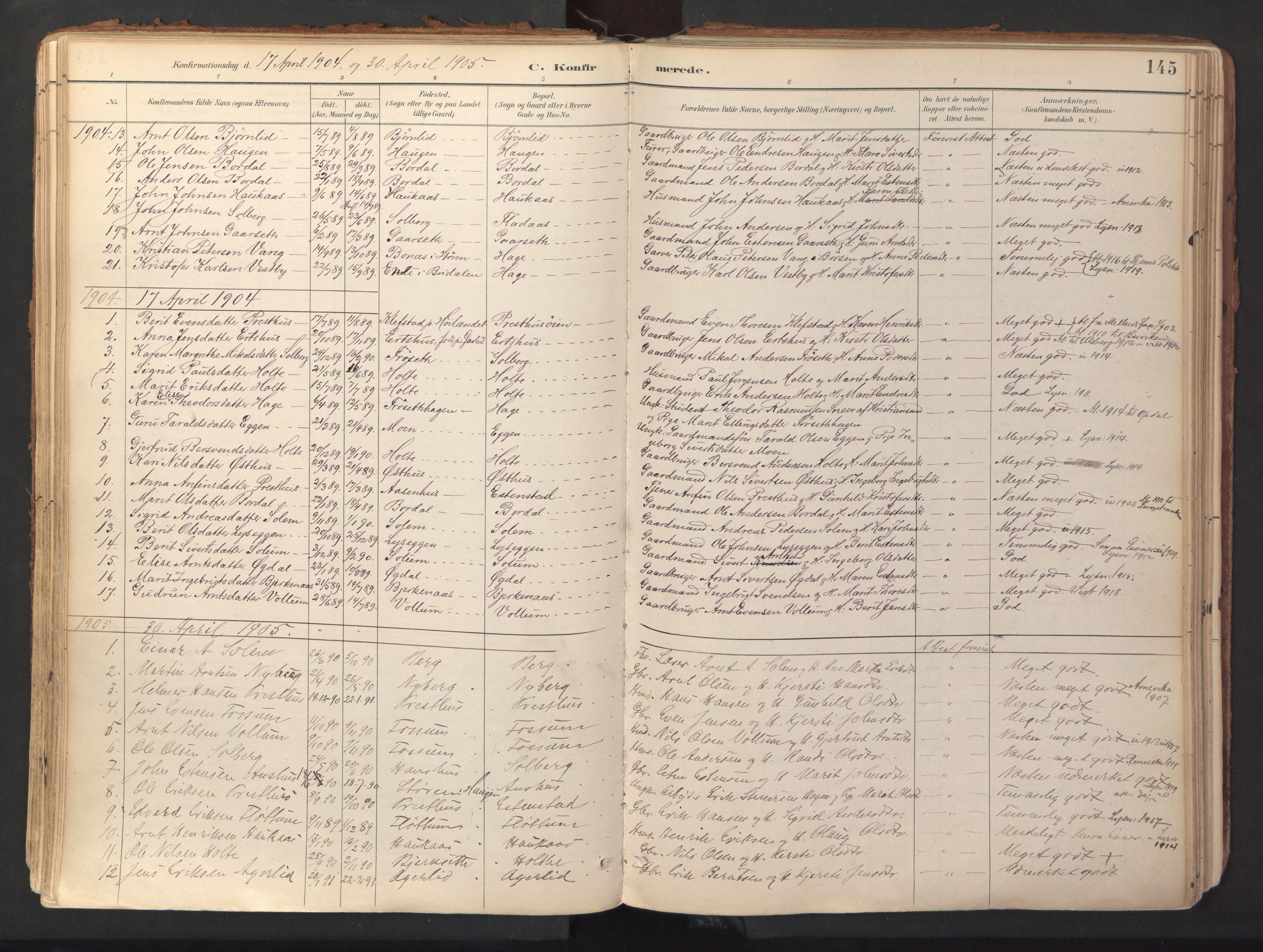 SAT, Ministerialprotokoller, klokkerbøker og fødselsregistre - Sør-Trøndelag, 689/L1041: Ministerialbok nr. 689A06, 1891-1923, s. 145
