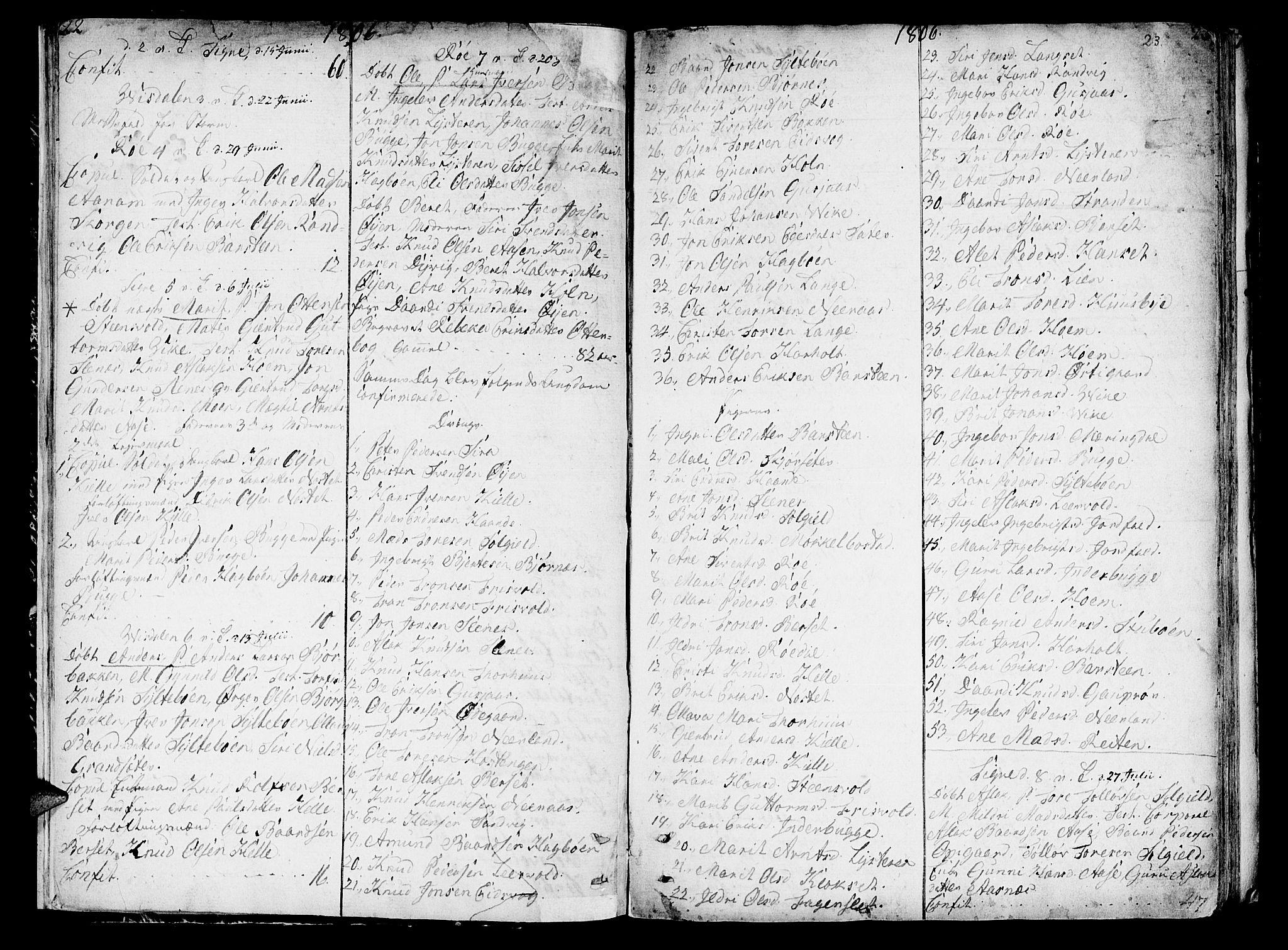 SAT, Ministerialprotokoller, klokkerbøker og fødselsregistre - Møre og Romsdal, 551/L0622: Ministerialbok nr. 551A02, 1804-1845, s. 22-23
