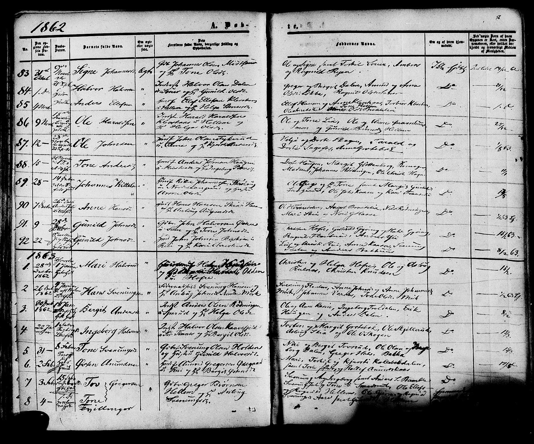 SAKO, Heddal kirkebøker, F/Fa/L0007: Ministerialbok nr. I 7, 1855-1877, s. 56