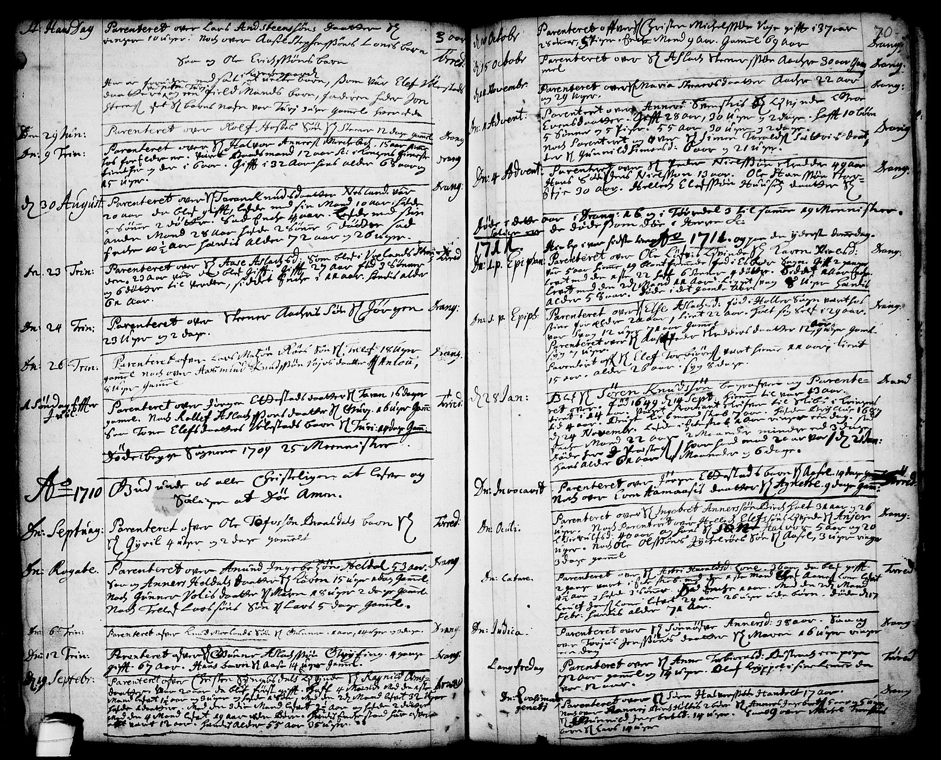 SAKO, Drangedal kirkebøker, F/Fa/L0001: Ministerialbok nr. 1, 1697-1767, s. 70