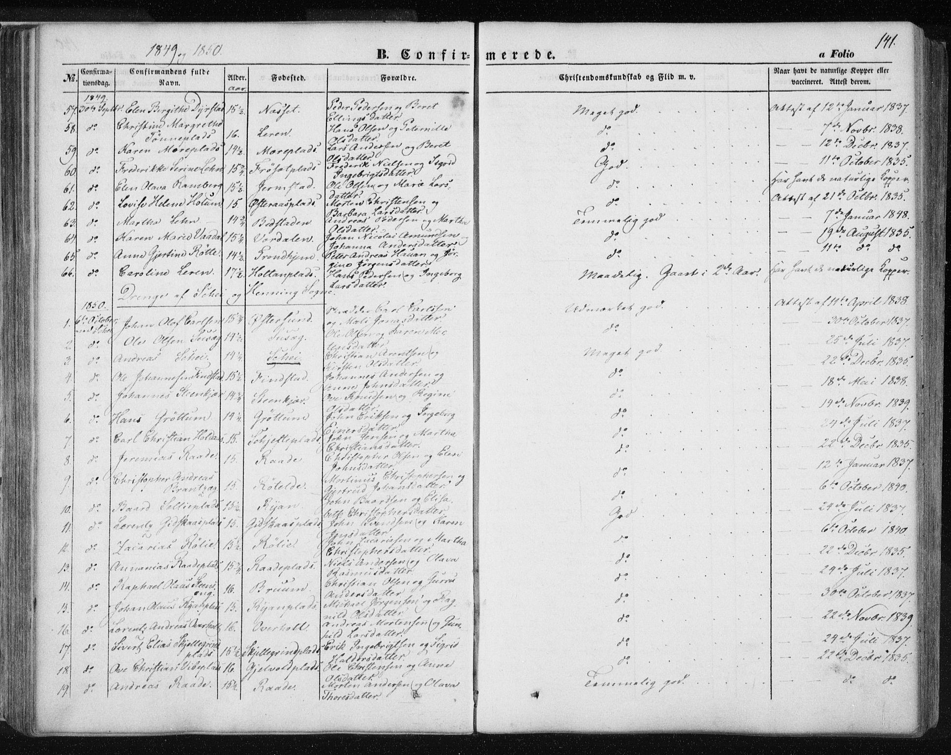 SAT, Ministerialprotokoller, klokkerbøker og fødselsregistre - Nord-Trøndelag, 735/L0342: Ministerialbok nr. 735A07 /1, 1849-1862, s. 141