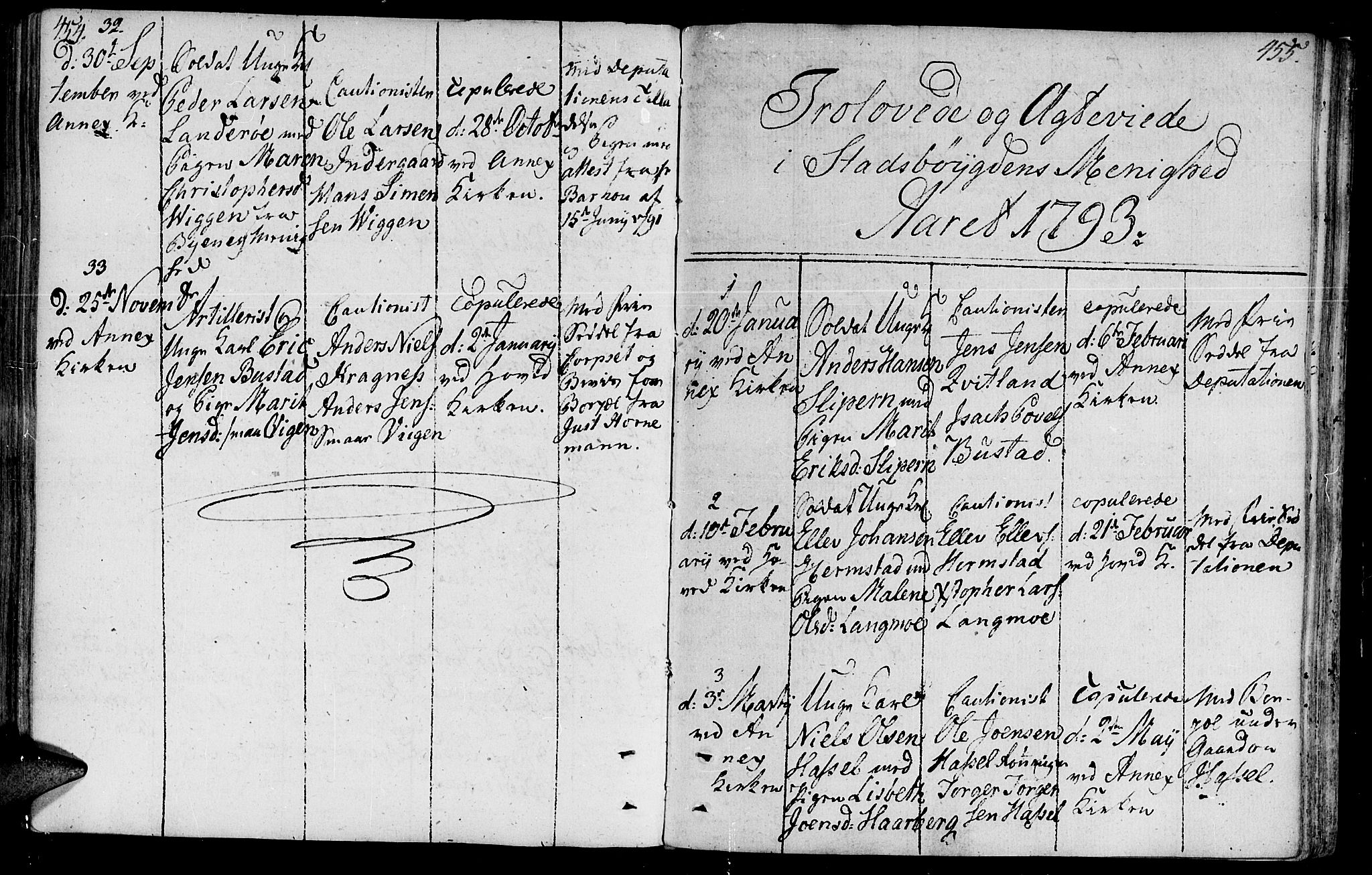 SAT, Ministerialprotokoller, klokkerbøker og fødselsregistre - Sør-Trøndelag, 646/L0606: Ministerialbok nr. 646A04, 1791-1805, s. 454-455