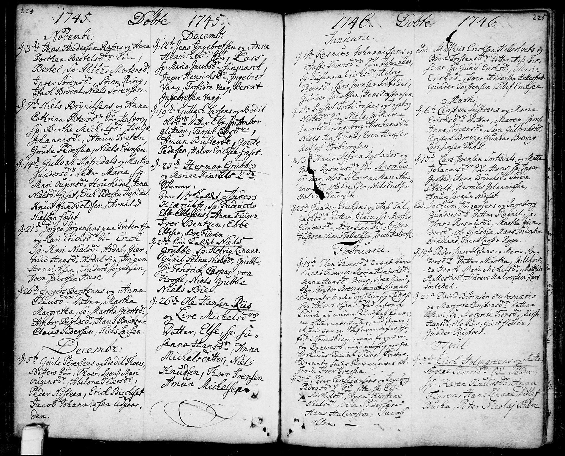 SAKO, Bamble kirkebøker, F/Fa/L0001: Ministerialbok nr. I 1, 1702-1774, s. 224-225