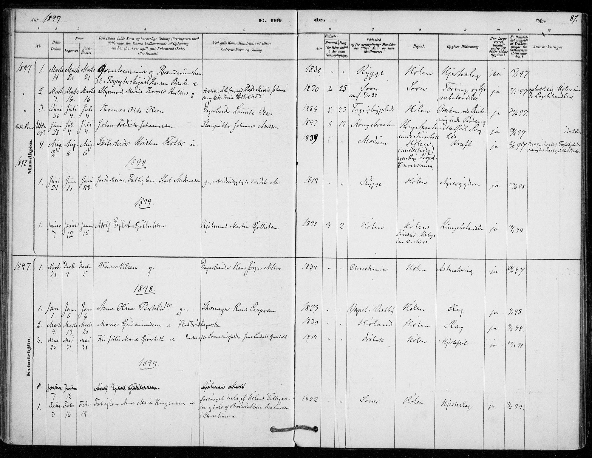 SAO, Vestby prestekontor Kirkebøker, F/Fe/L0001: Ministerialbok nr. V 1, 1878-1931, s. 87