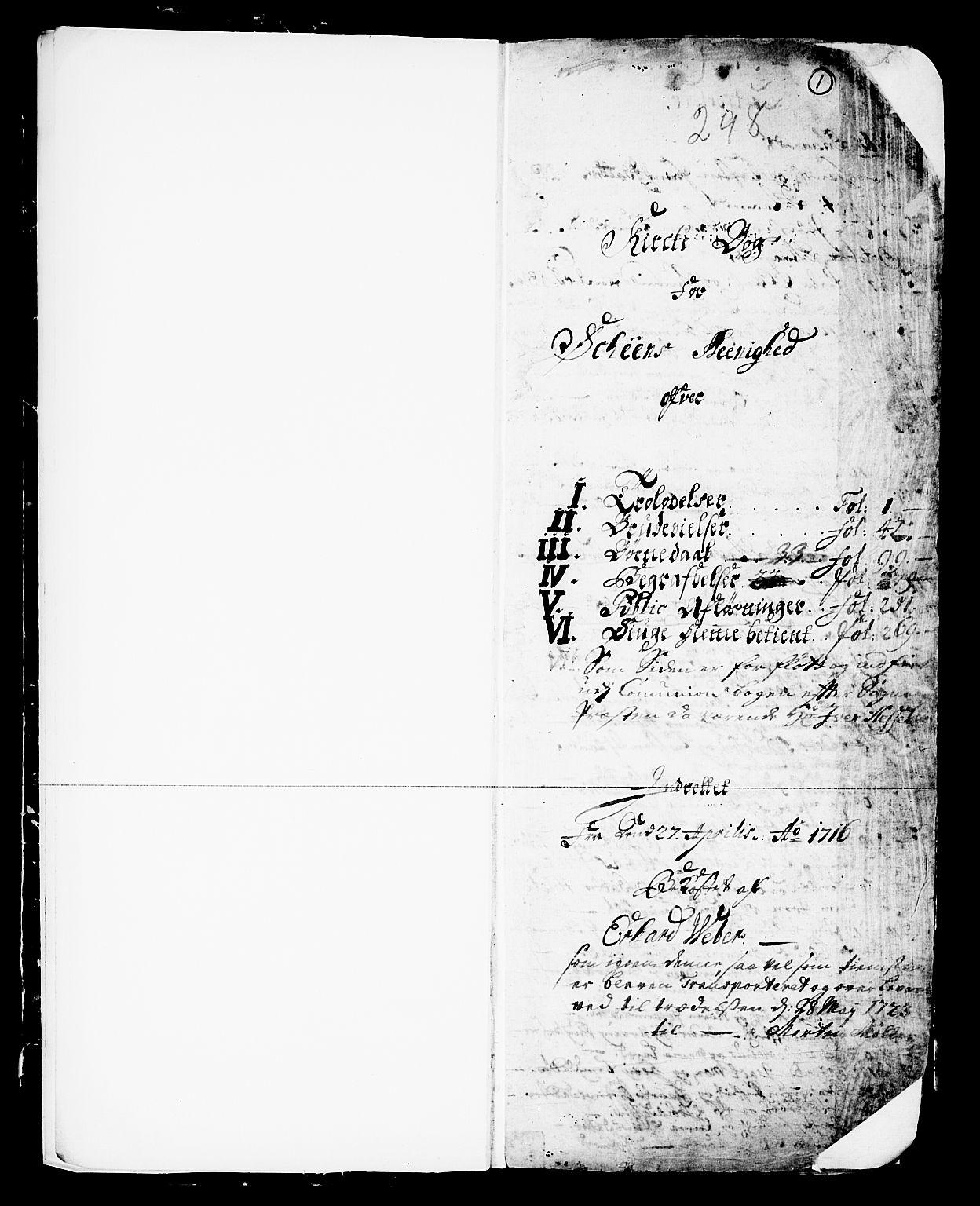 SAKO, Skien kirkebøker, F/Fa/L0002: Ministerialbok nr. 2, 1716-1757, s. 1