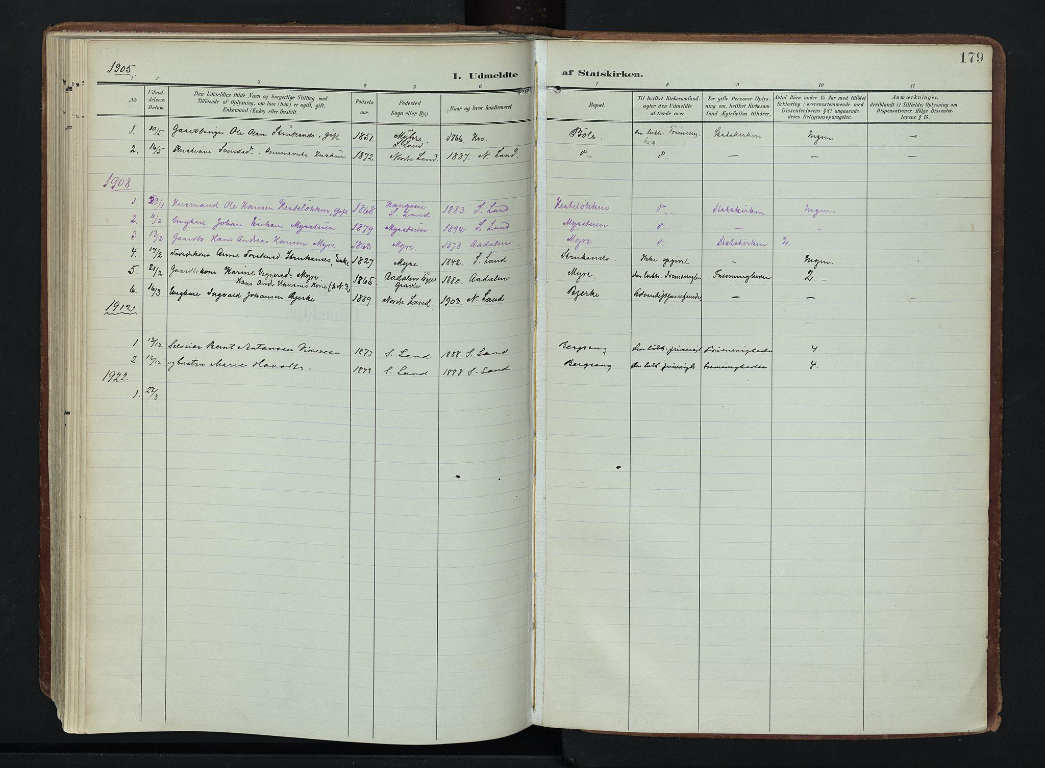 SAH, Søndre Land prestekontor, K/L0007: Ministerialbok nr. 7, 1905-1914, s. 179