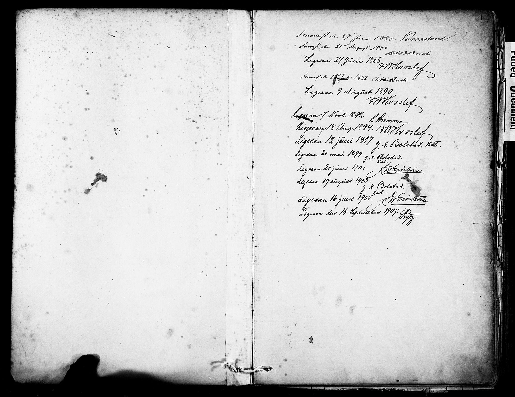 SAB, Eid Sokneprestembete, H/Haa: Ministerialbok nr. B 1, 1879-1906, s. 1