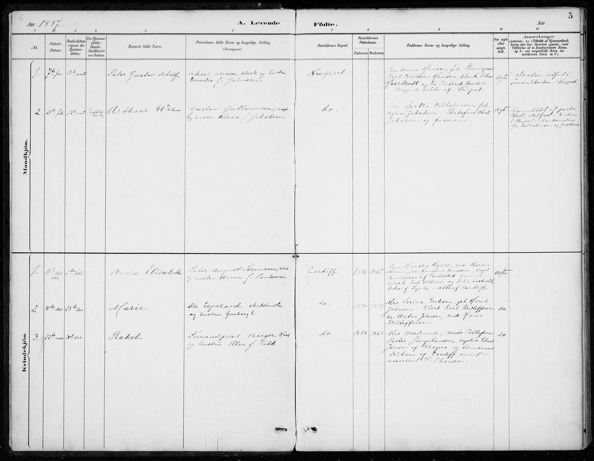 SAB, Den Norske Sjømannsmisjon i utlandet*, Ministerialbok nr. A 2, 1887-1932, s. 5