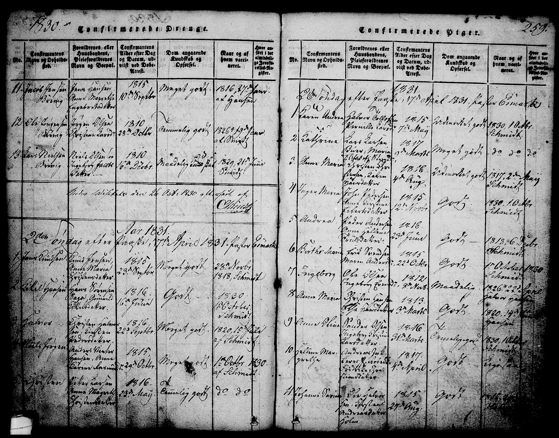 SAKO, Brevik kirkebøker, G/Ga/L0001: Klokkerbok nr. 1, 1814-1845, s. 259