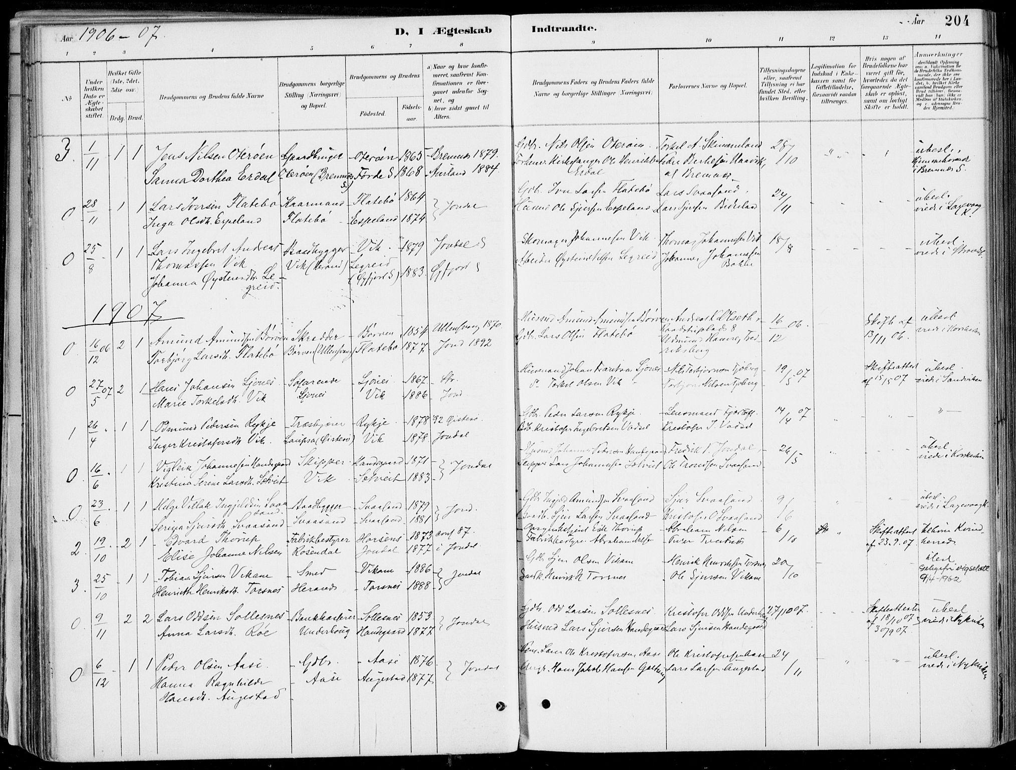 SAB, Strandebarm Sokneprestembete, H/Haa: Ministerialbok nr. E  1, 1886-1908, s. 204
