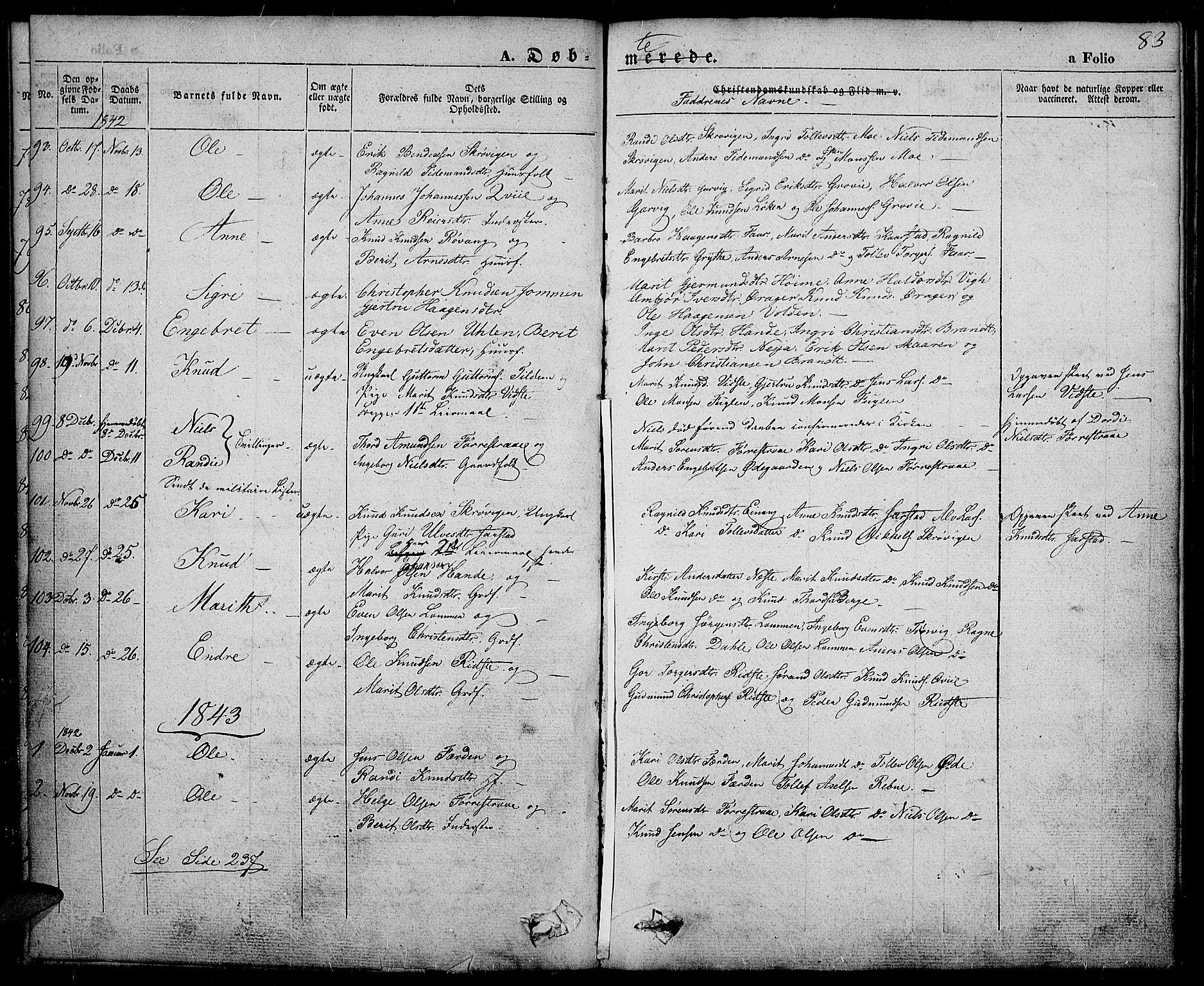 SAH, Slidre prestekontor, Ministerialbok nr. 3, 1831-1843, s. 83