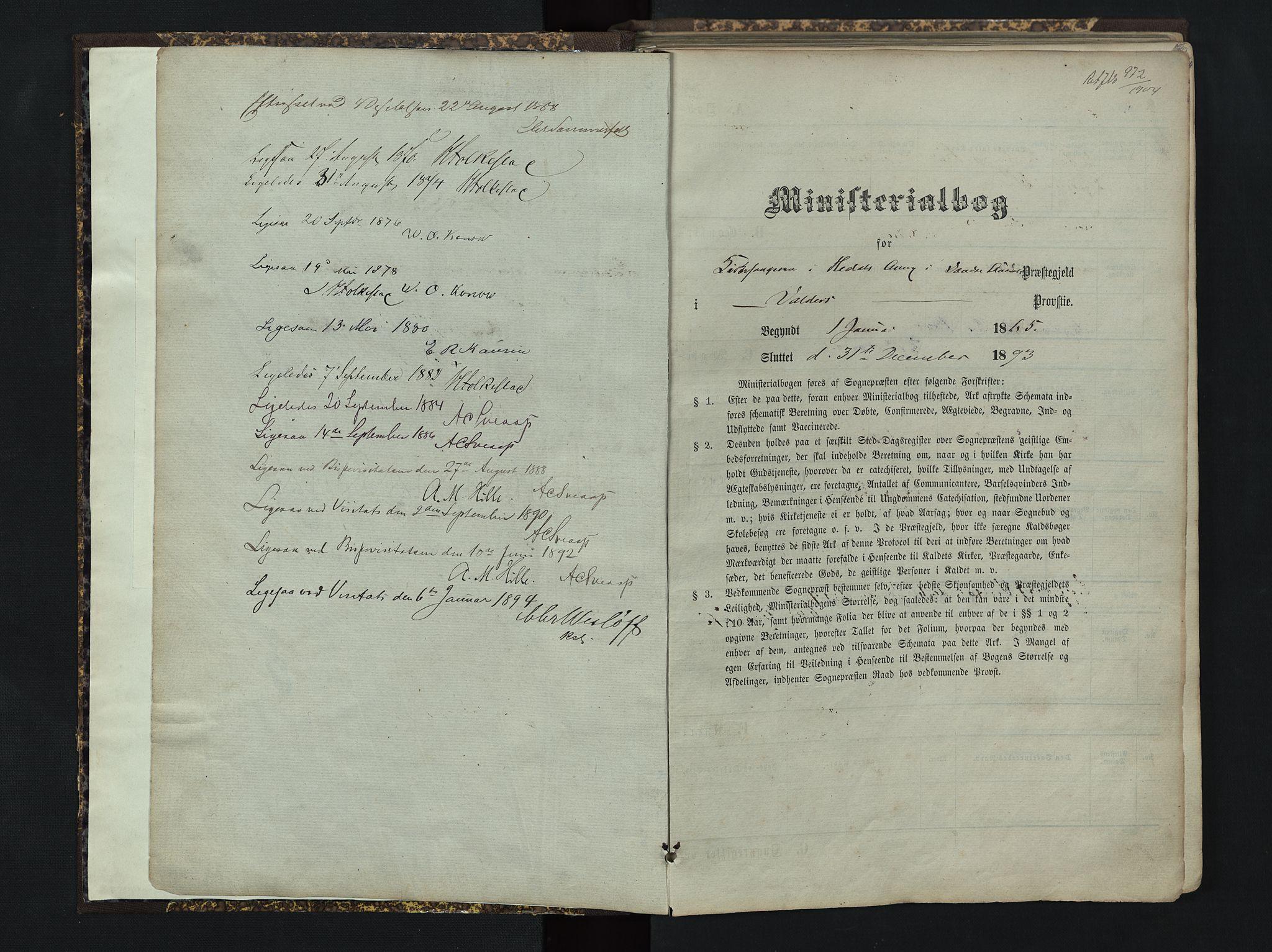 SAH, Sør-Aurdal prestekontor, Klokkerbok nr. 4, 1865-1893