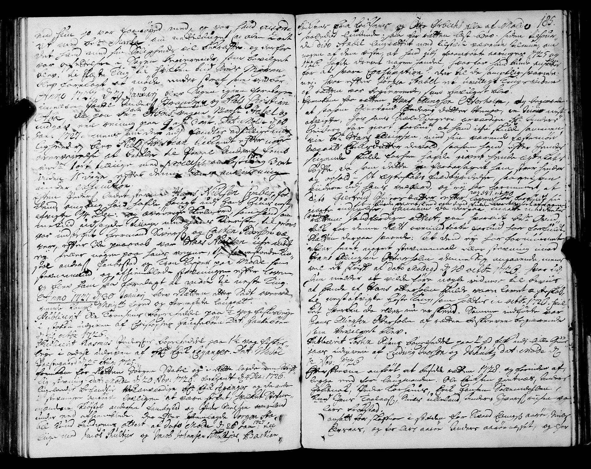 SAT, Romsdal sorenskriveri, 1/1A/L0009: Tingbok, 1722-1728, s. 184b-185a