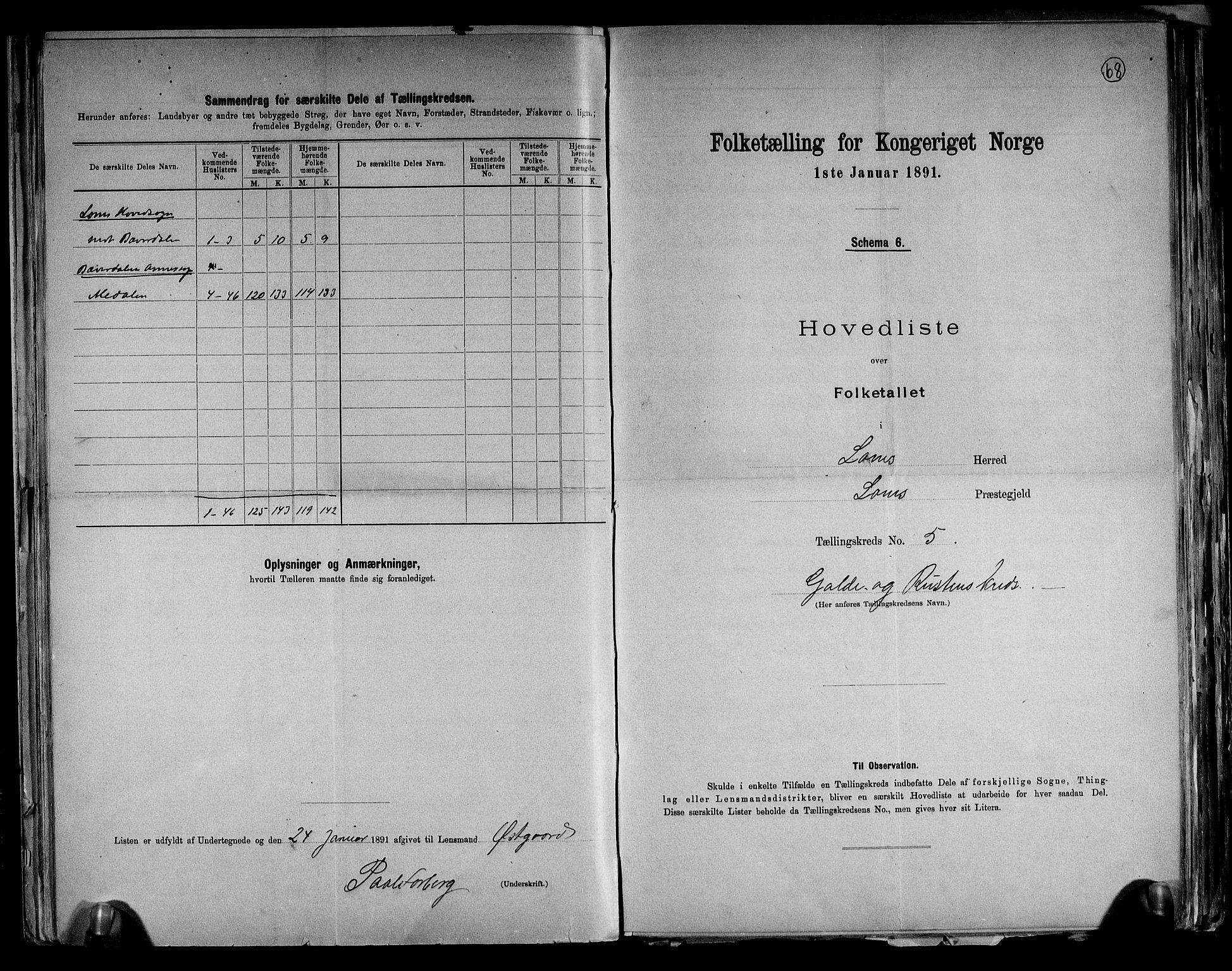 RA, Folketelling 1891 for 0514 Lom herred, 1891, s. 12