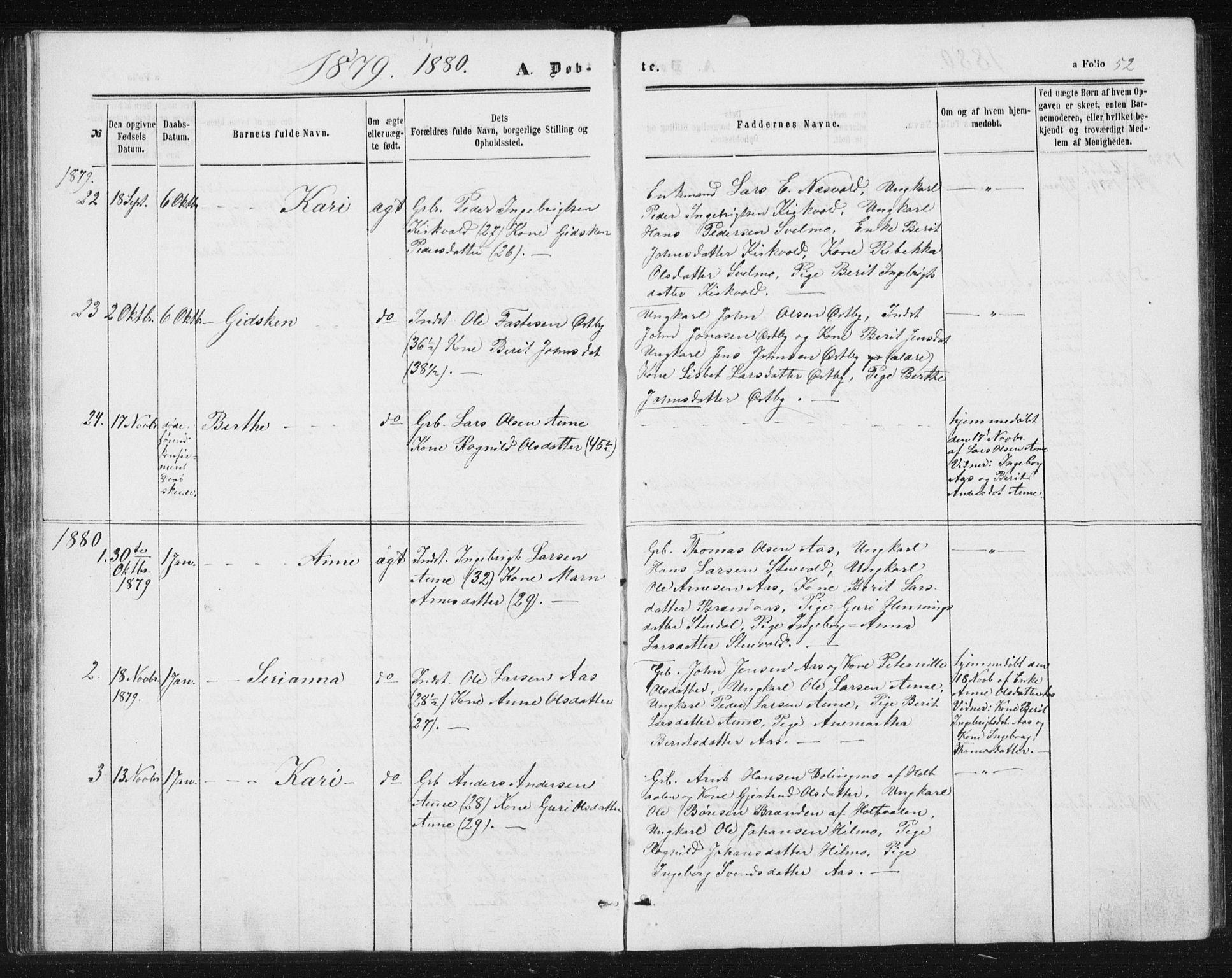 SAT, Ministerialprotokoller, klokkerbøker og fødselsregistre - Sør-Trøndelag, 698/L1166: Klokkerbok nr. 698C03, 1861-1887, s. 52