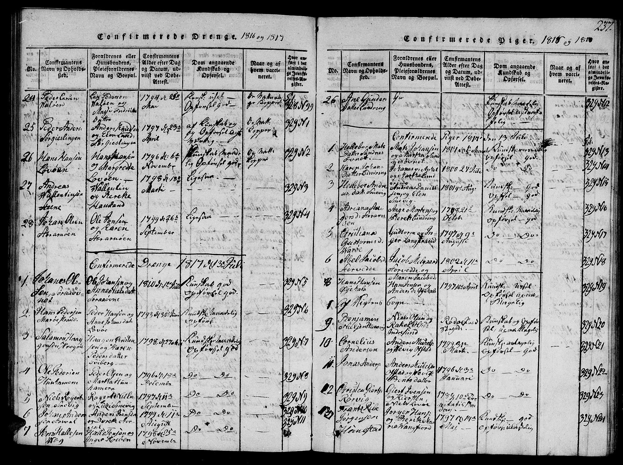 SAT, Ministerialprotokoller, klokkerbøker og fødselsregistre - Nord-Trøndelag, 784/L0679: Klokkerbok nr. 784C01 /1, 1816-1822, s. 237