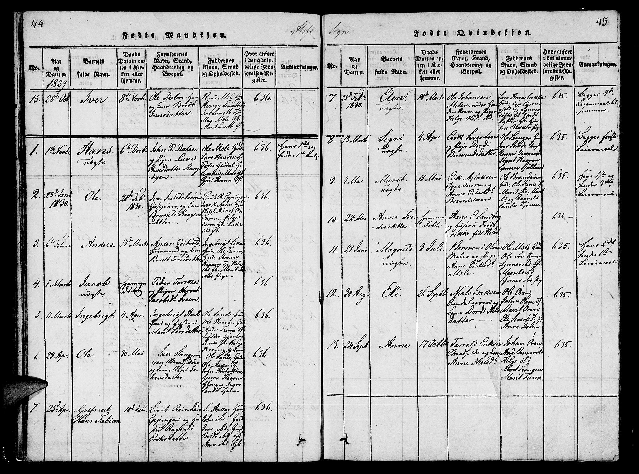 SAT, Ministerialprotokoller, klokkerbøker og fødselsregistre - Møre og Romsdal, 590/L1009: Ministerialbok nr. 590A03 /1, 1819-1832, s. 44-45
