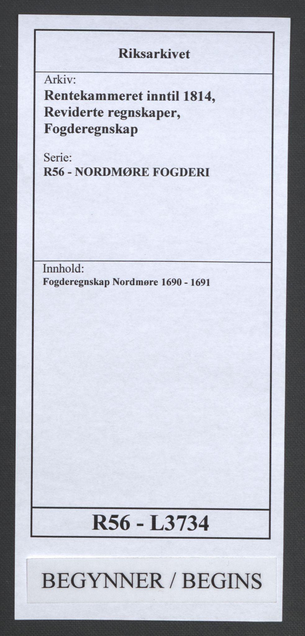 RA, Rentekammeret inntil 1814, Reviderte regnskaper, Fogderegnskap, R56/L3734: Fogderegnskap Nordmøre, 1690-1691, s. 1