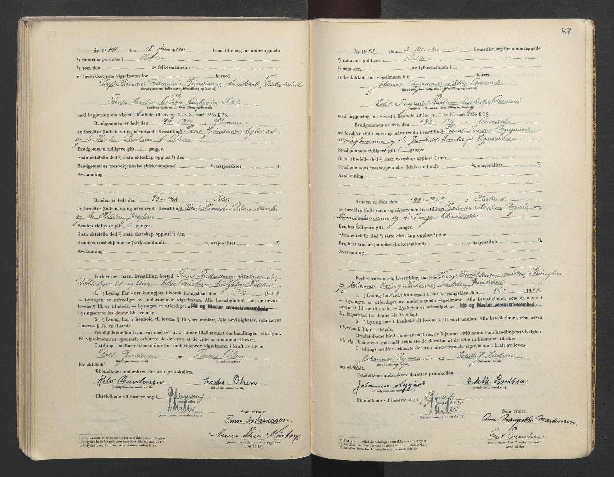 SAO, Idd og Marker sorenskriveri, L/Lc/L0001: Vigselsbøker, 1942-1944, s. 87