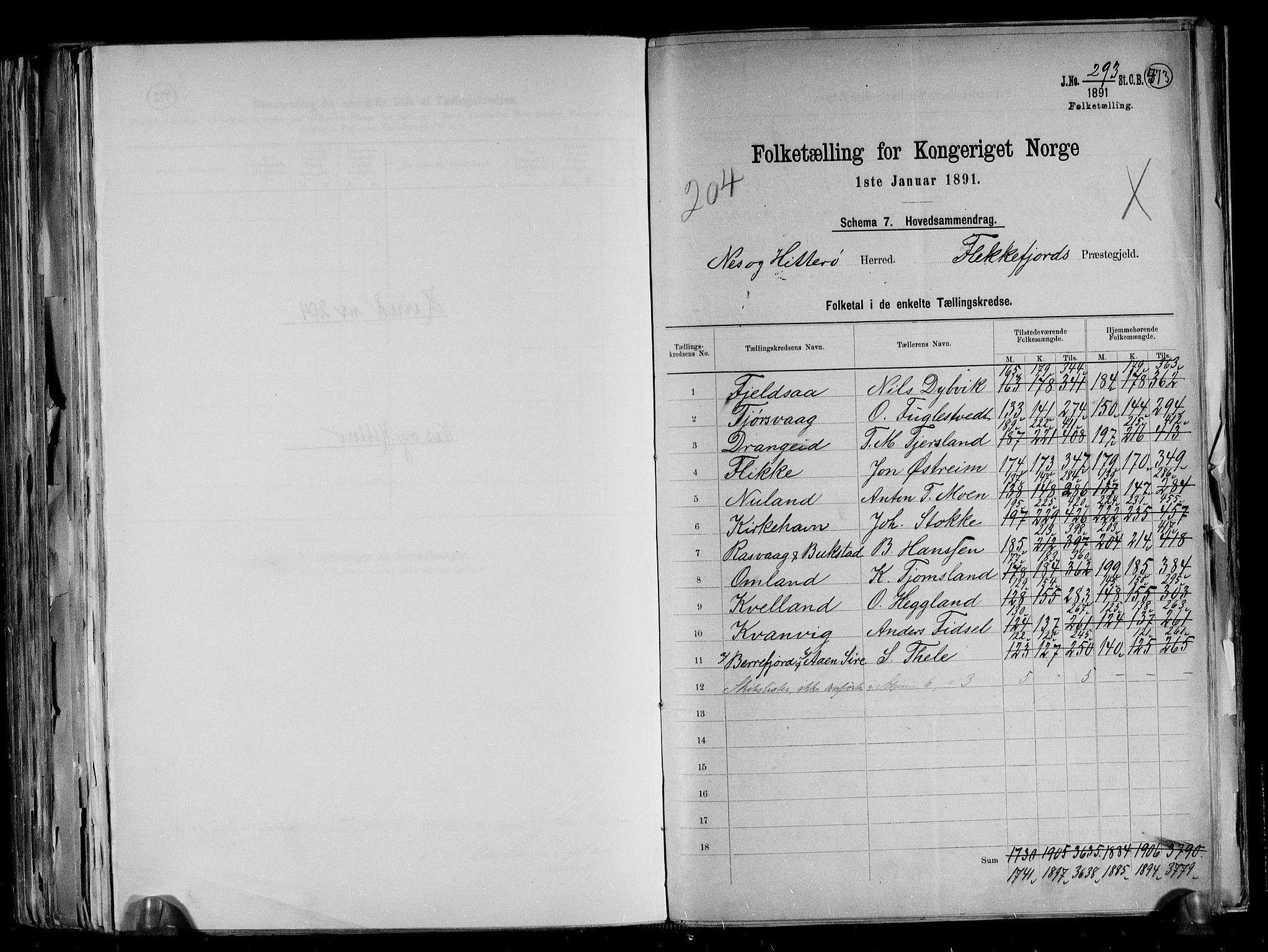 RA, Folketelling 1891 for 1043 Hidra og Nes herred, 1891, s. 2