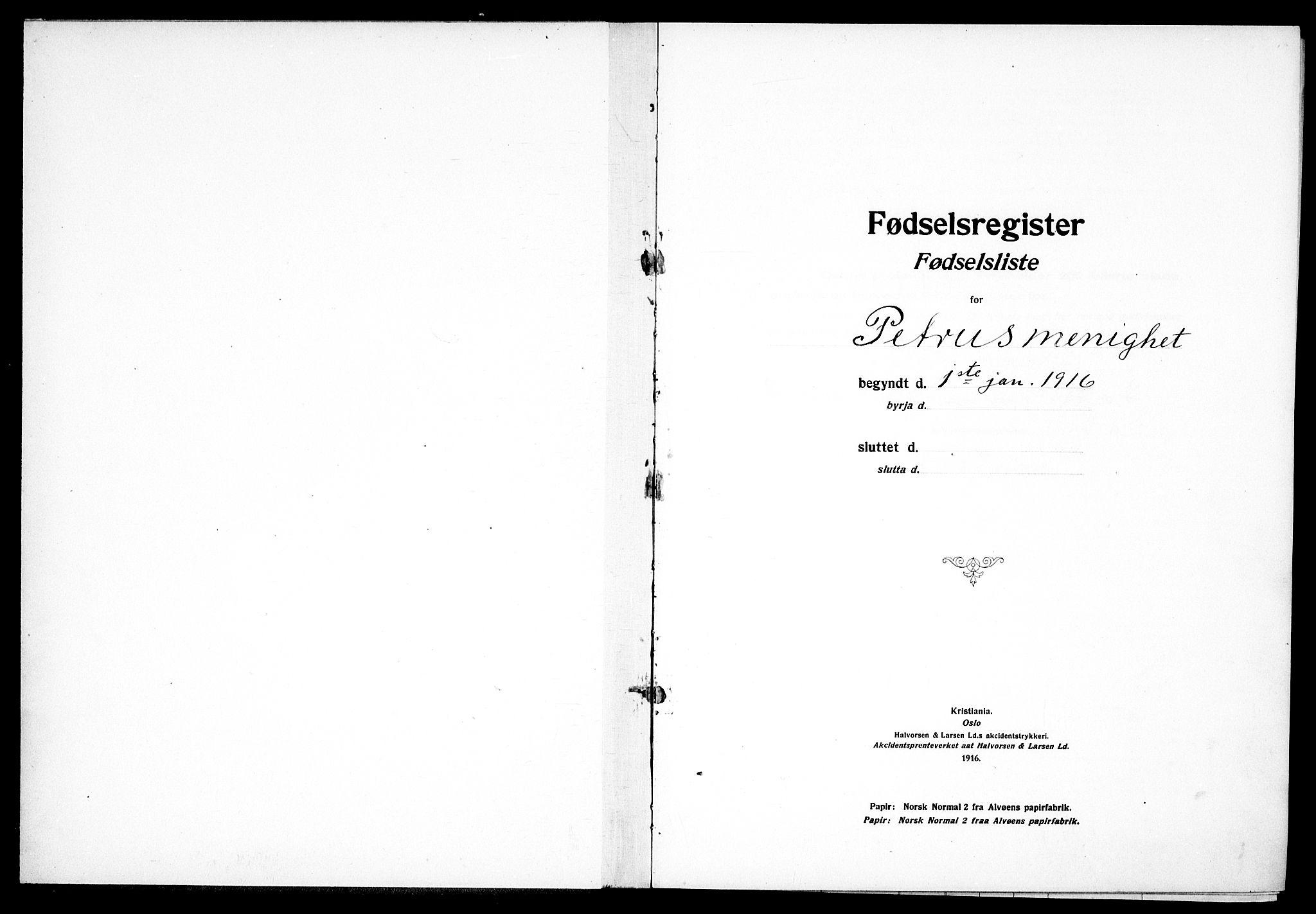 SAO, Petrus prestekontor Kirkebøker, J/Ja/L0001: Fødselsregister nr. 1, 1916-1922
